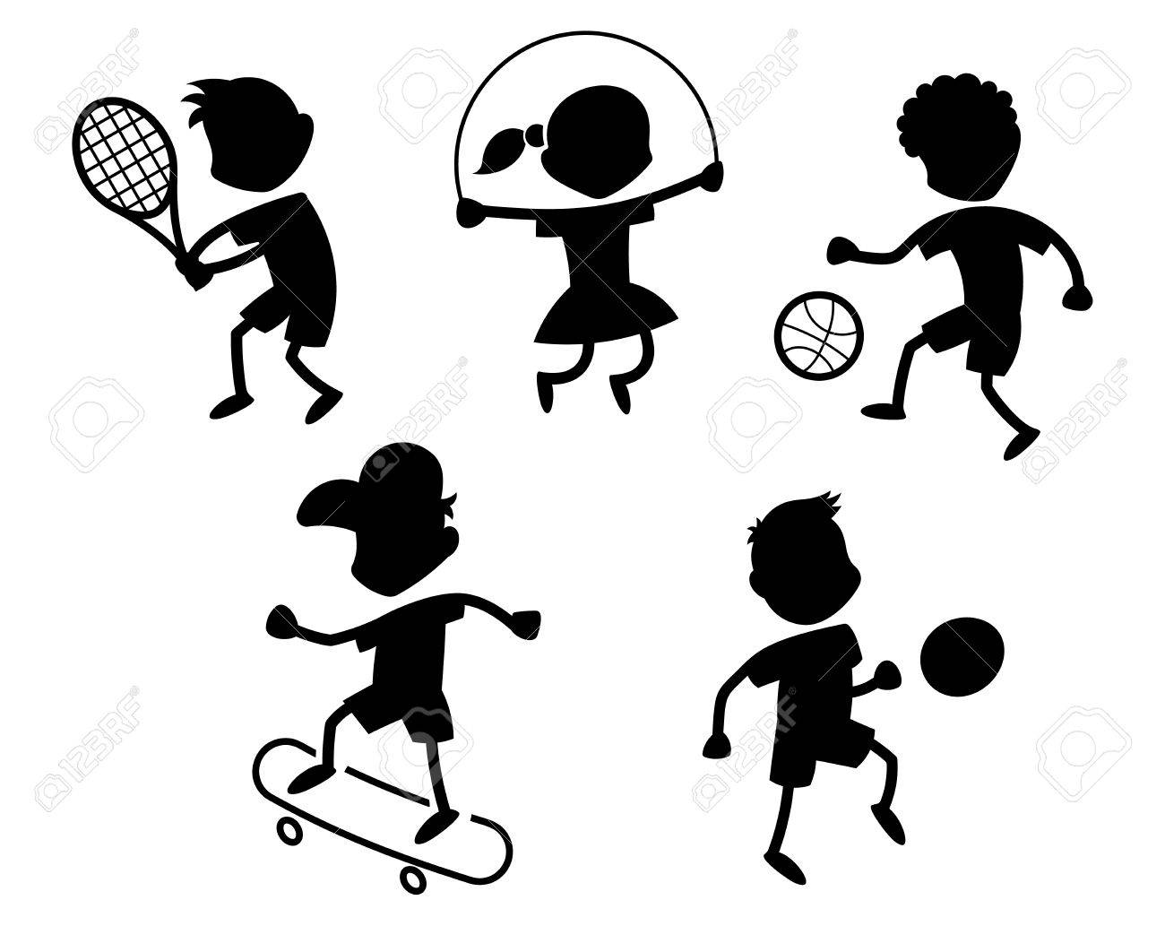 Cartoon Sport Icons Playing Kids Silhouettes Black Royalty Free Cliparts Vectors And Stock Illustration Image 44501068