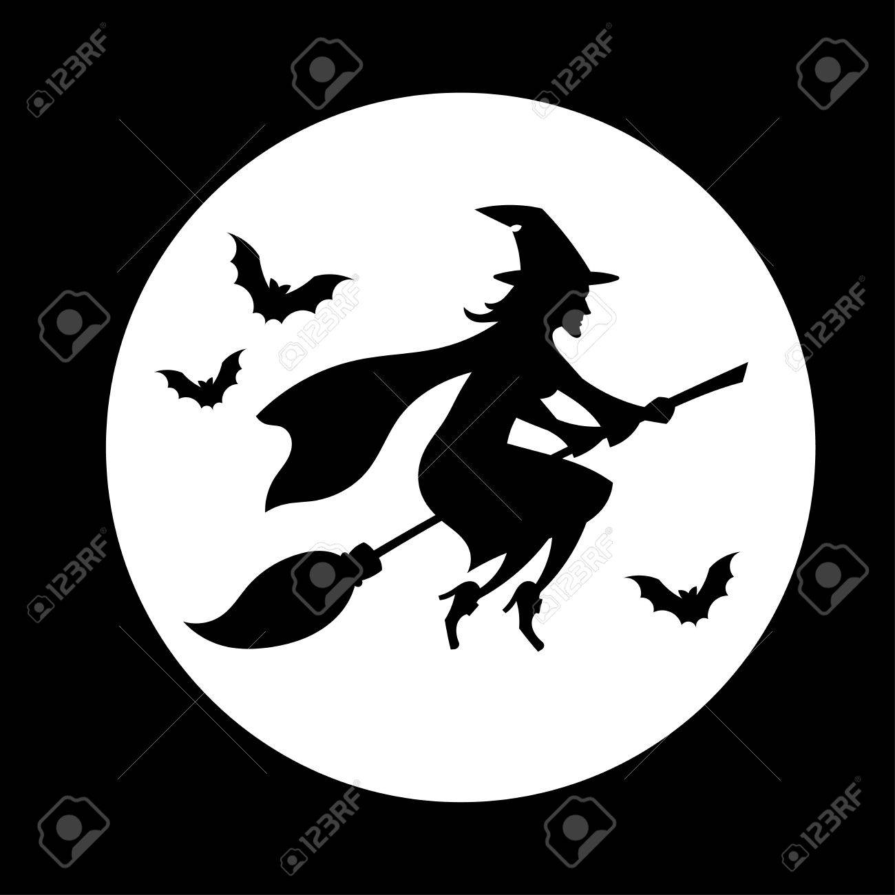 witch flying over the moon halloween symbol stock vector 44875754 - Flying Halloween Witch