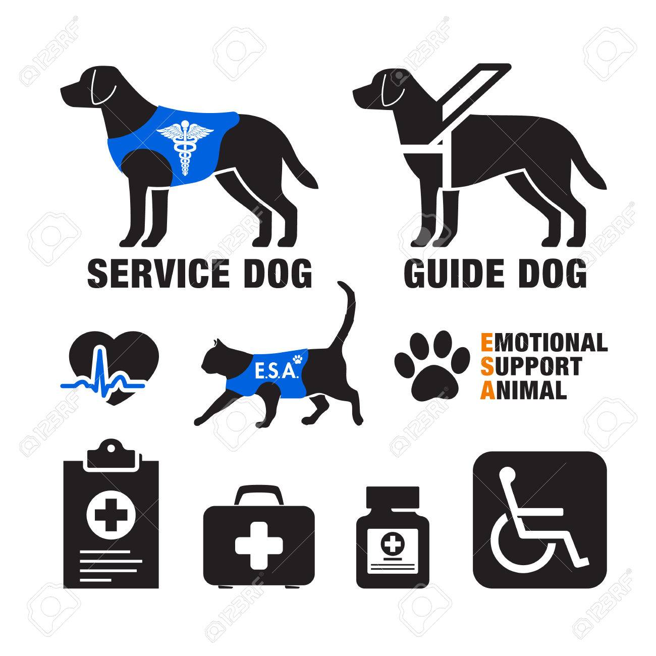 Service dogs and emotional support animals emblems. - 74772556