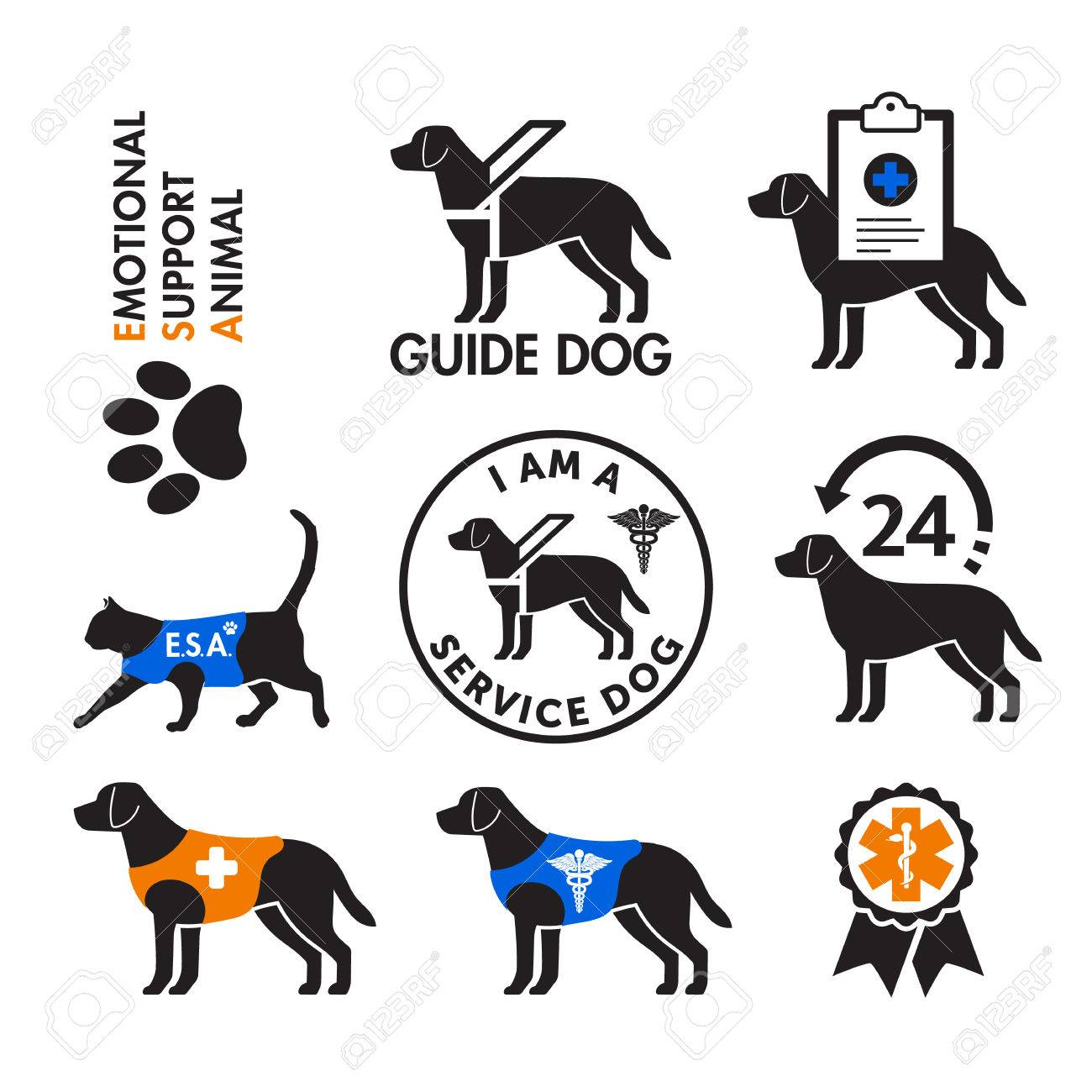 Image of: Reflective Service Dogs And Emotional Support Animals Emblems Stock Vector 74772284 123rfcom Service Dogs And Emotional Support Animals Emblems Royalty Free
