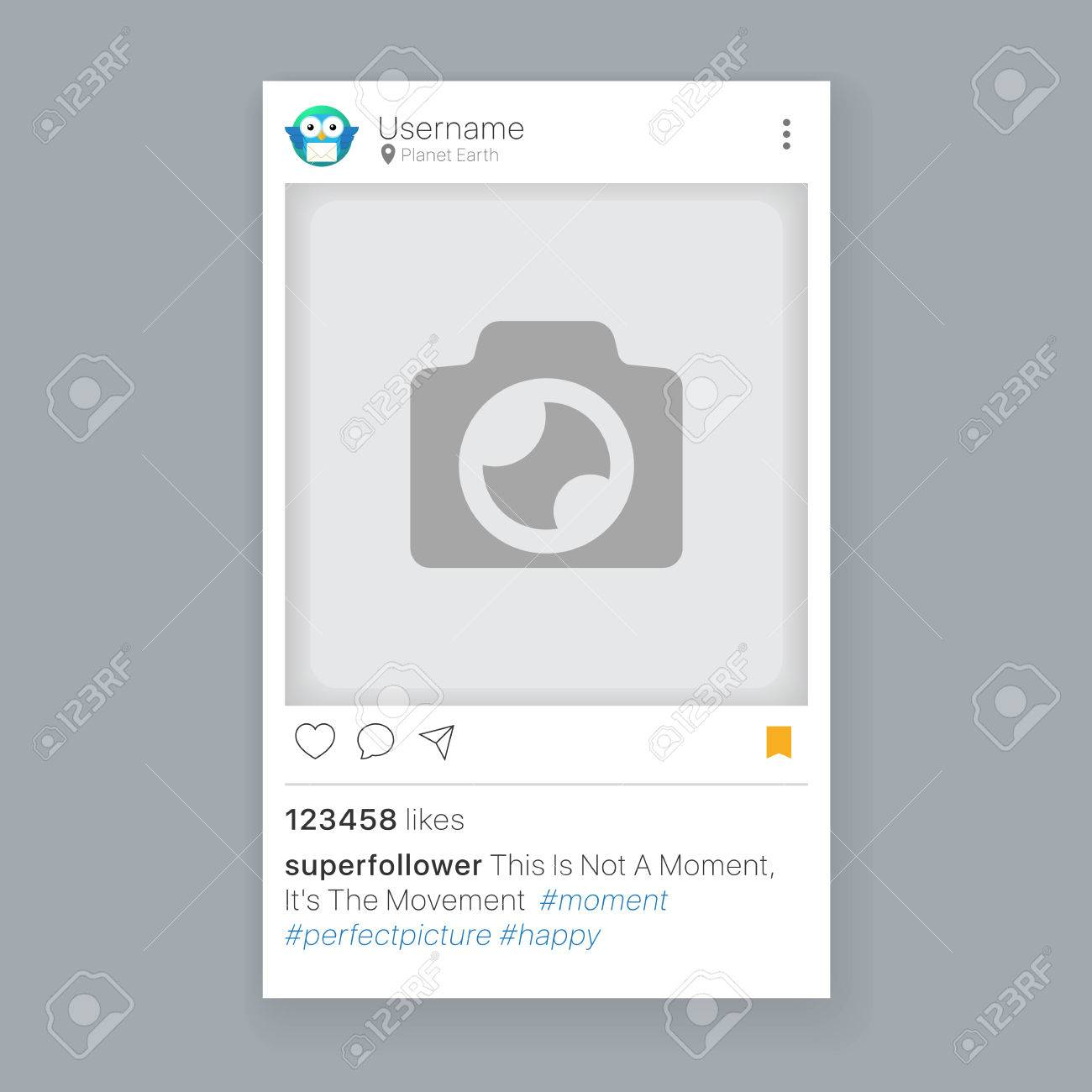 Mobile App Photo Or Video Frame With Set Of Icons, Social Media ...