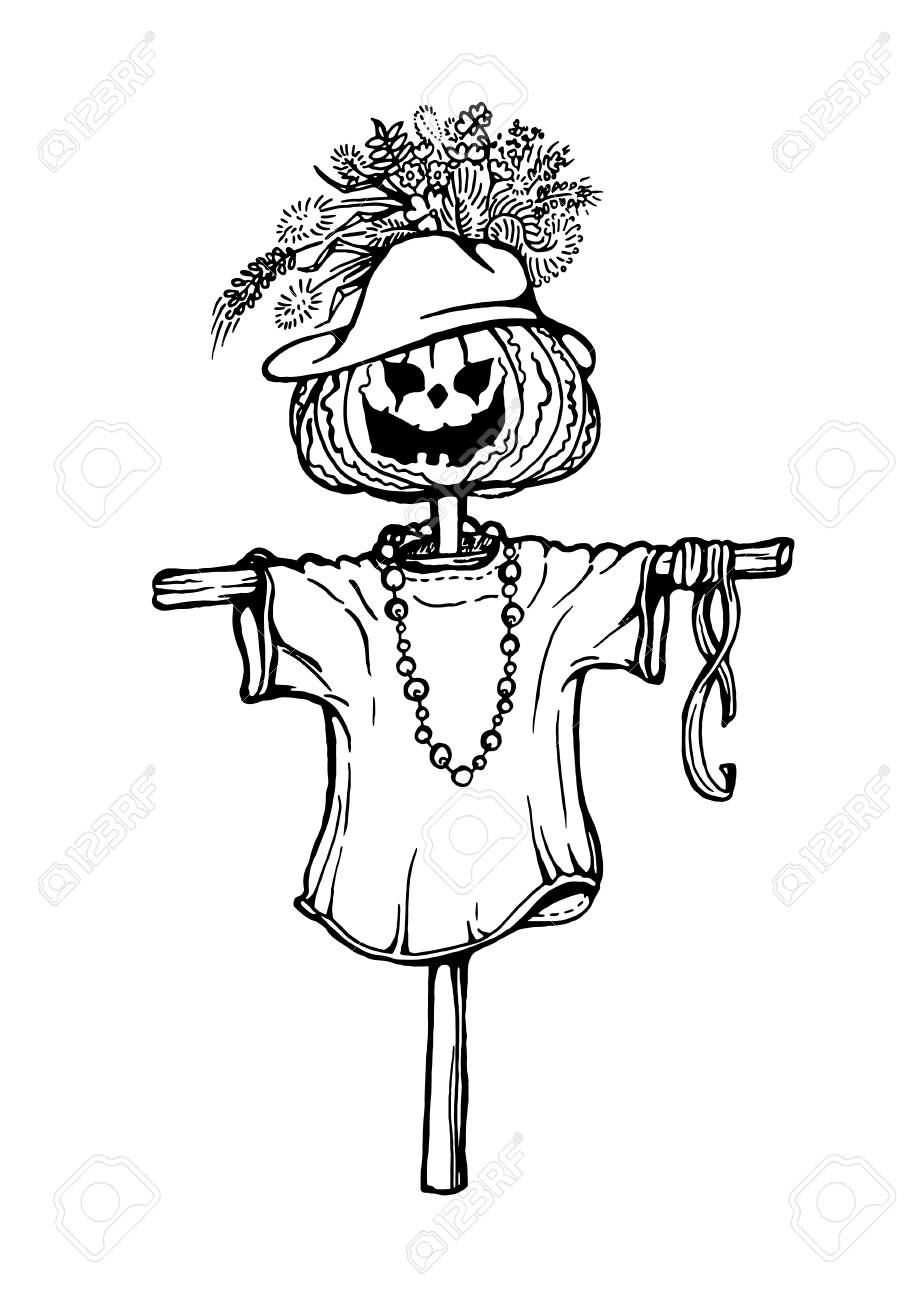 hand drawing of scarecrow with pumpkin head stock vector 87467735