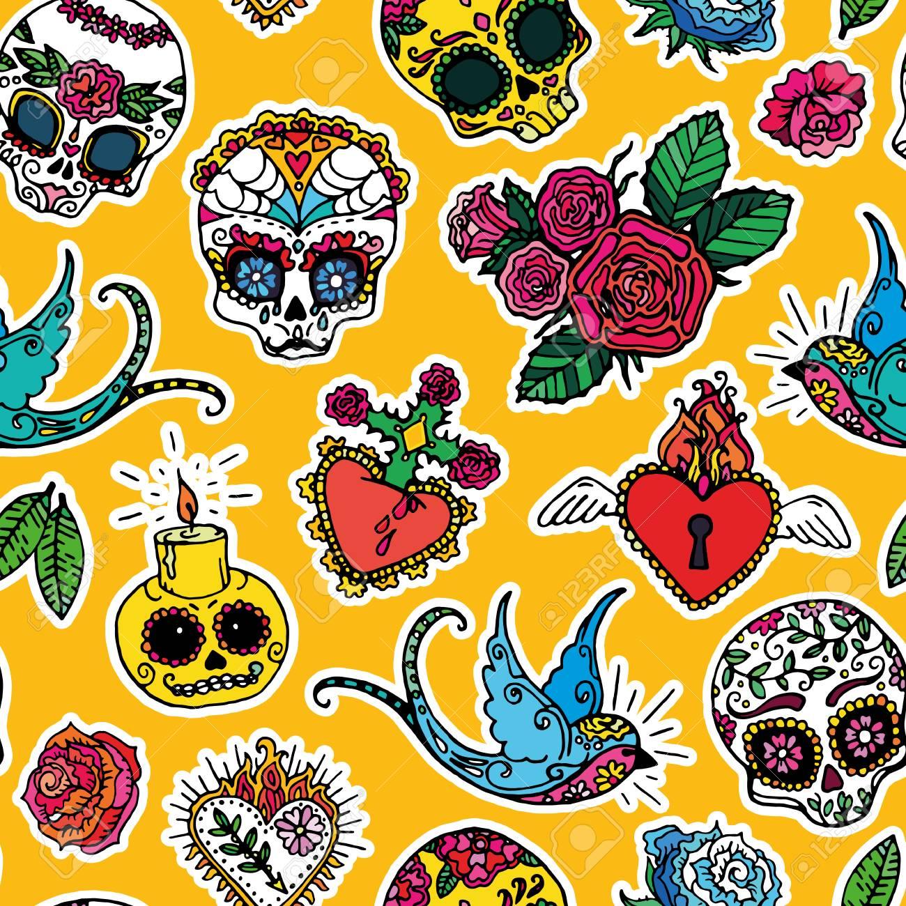 Dia De Los Muertos Day The Dead Seamless Pattern Stock