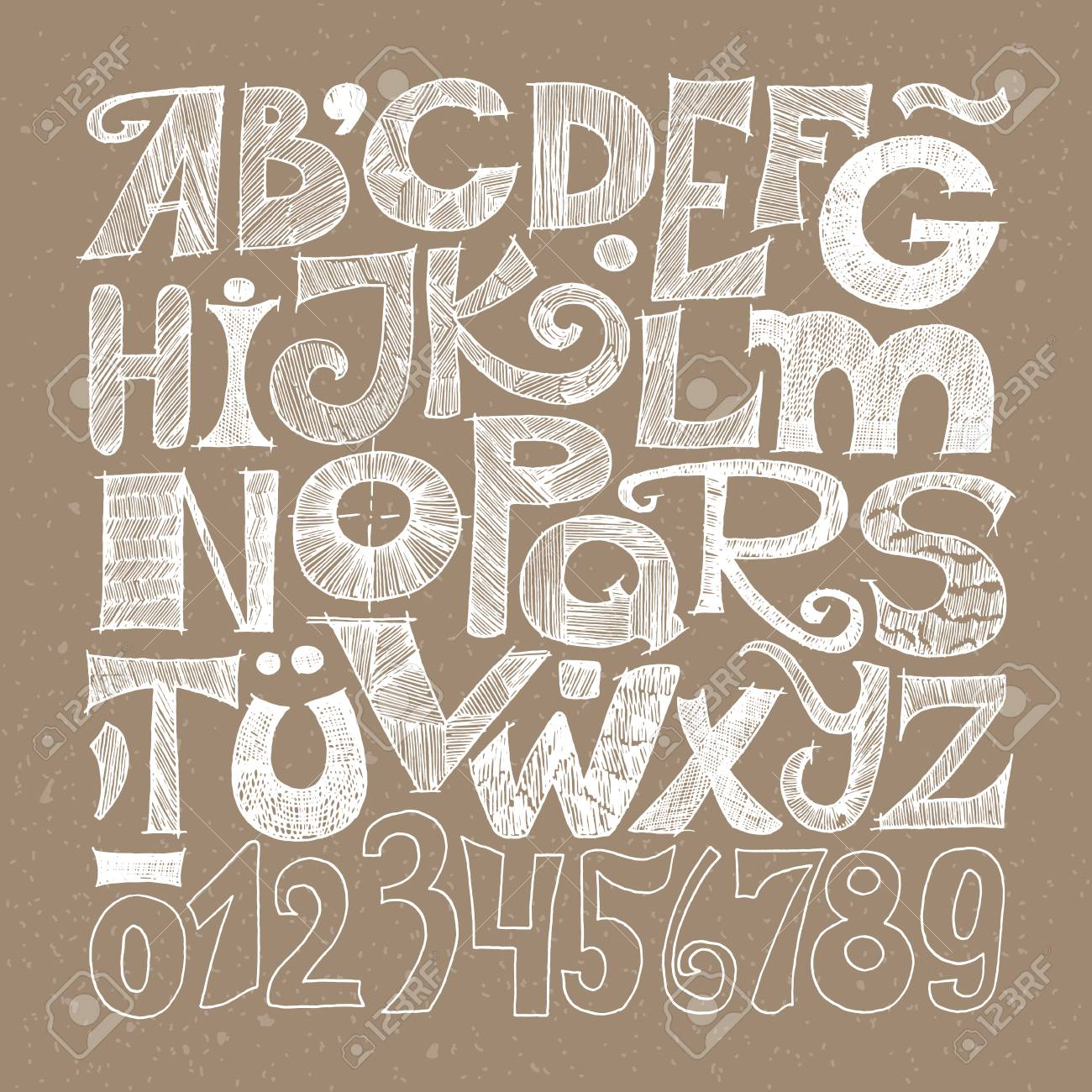 Hand Drawn Decorative Typography Sketched Grunge Alphabet And Numerals White On Craft Paper Stock