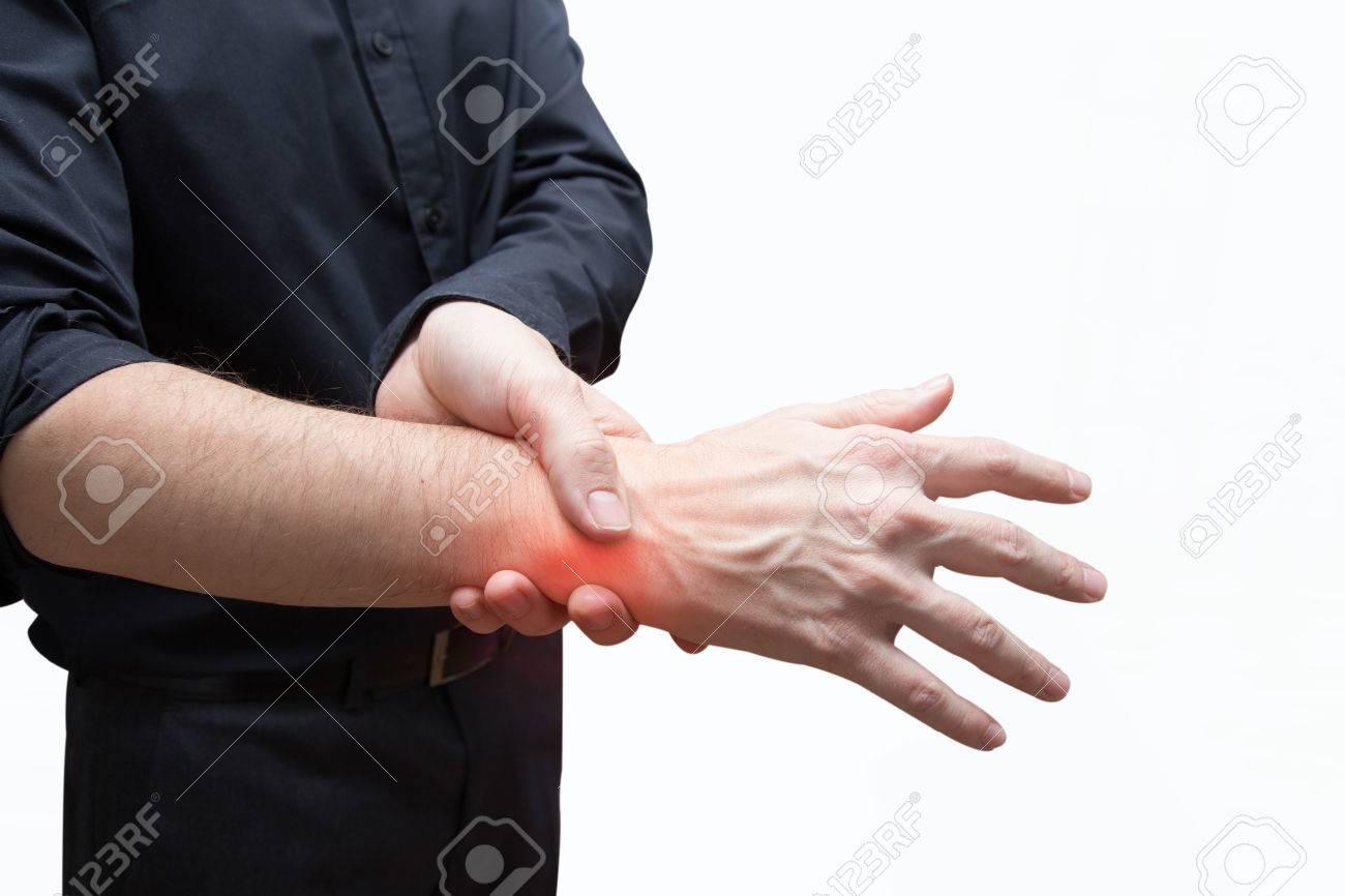 man press painful hand - 79638059
