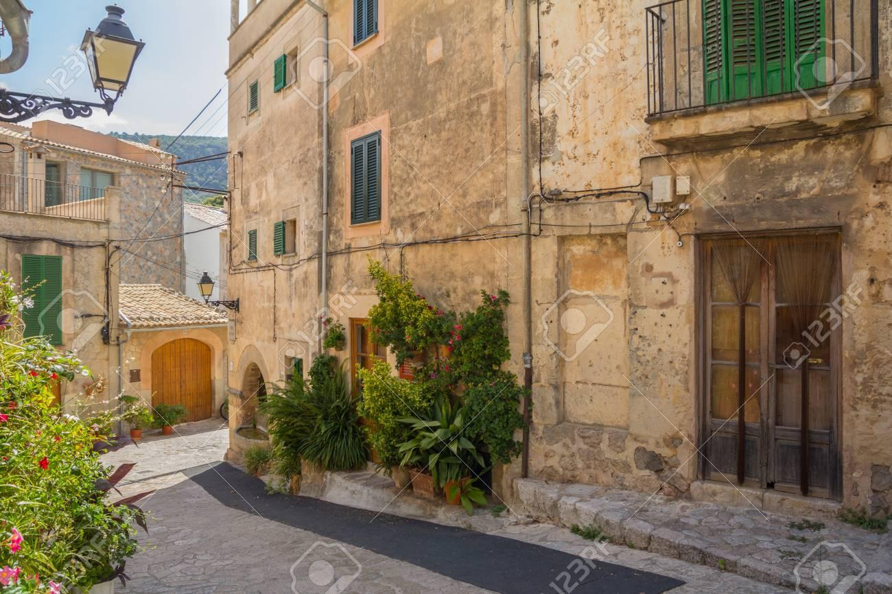 charming historical street in valldemossa spain - 79638057