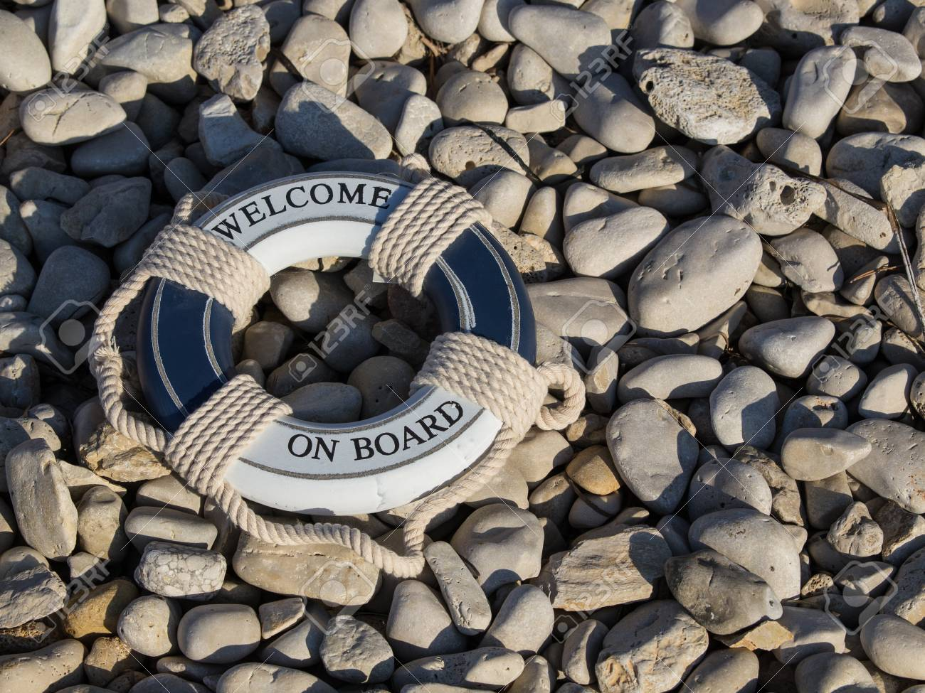 welcome safe safe belt on the stone beach Stock Photo - 15414055