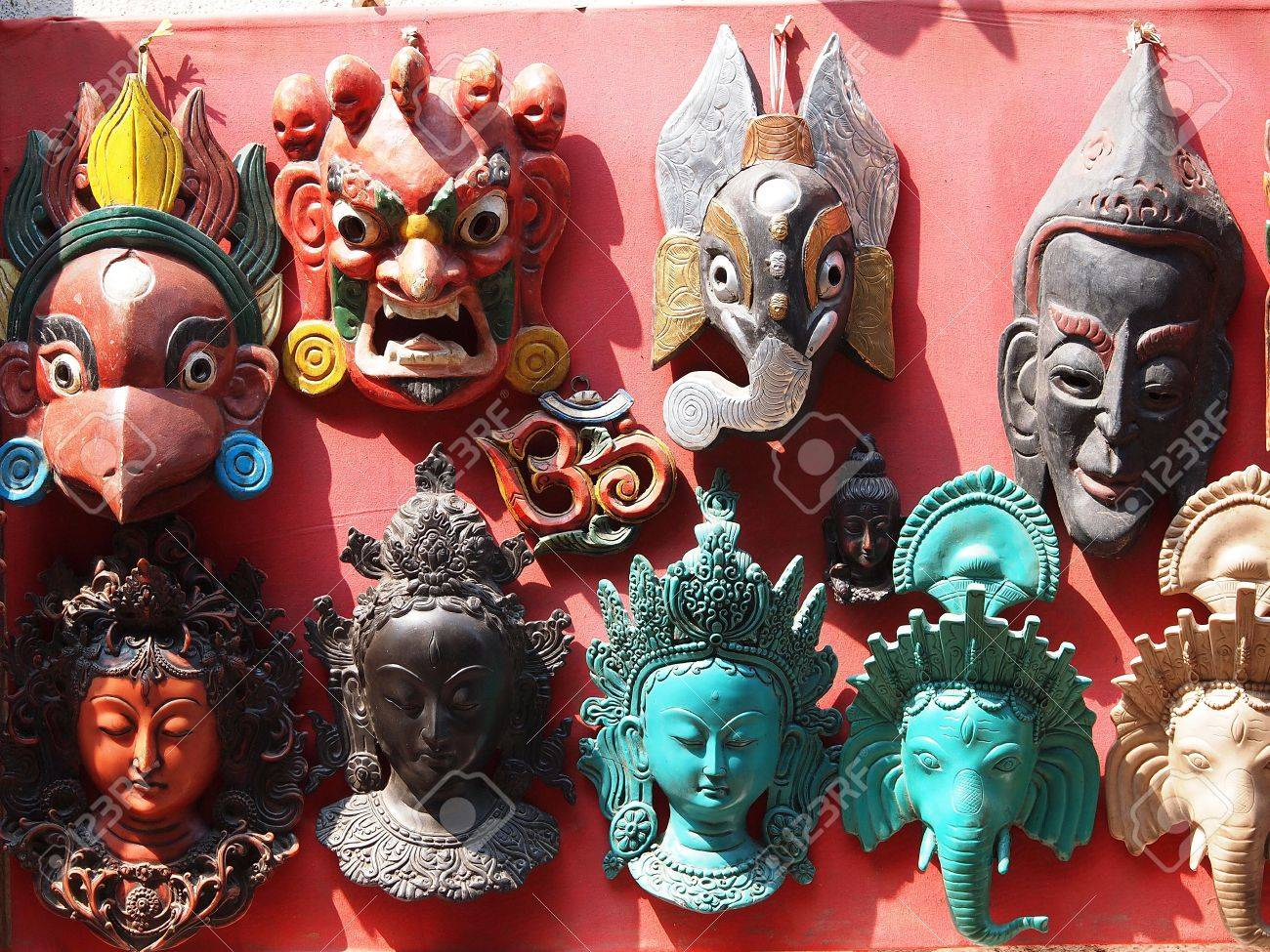 Nepali masks on display in the markets of Bhaktapur, Nepal