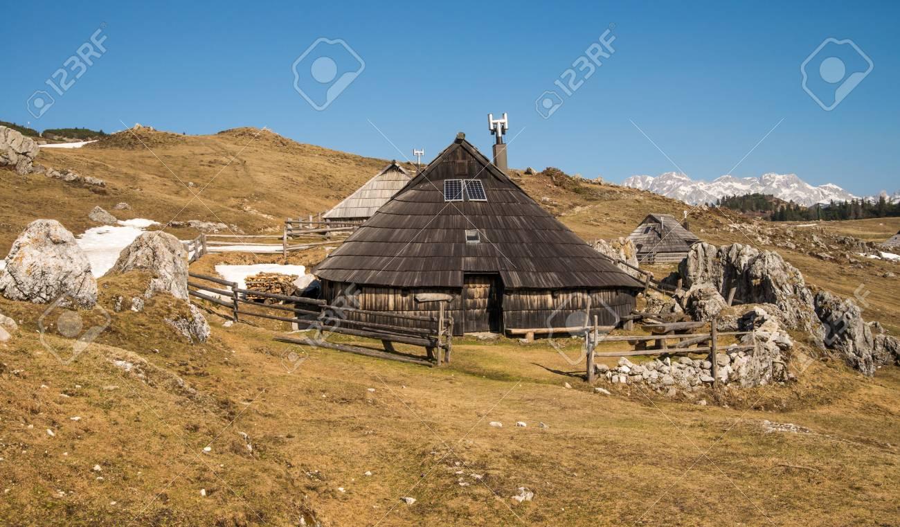 Landschaftliche Hochalpine Velika Planina Mit Traditionellen Alten