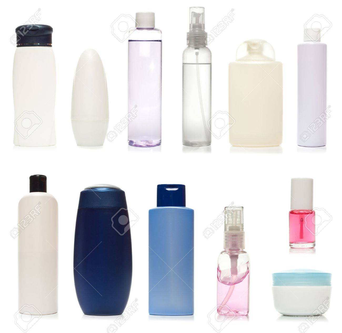 Set of plastic bottles of body care and beauty products Stock Photo - 10677429