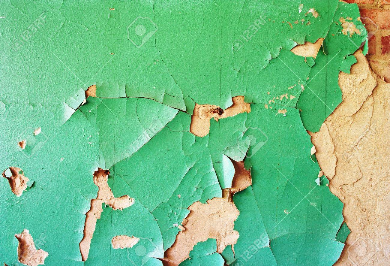 green weathered painted wall with cracked paint Stock Photo - 12773219