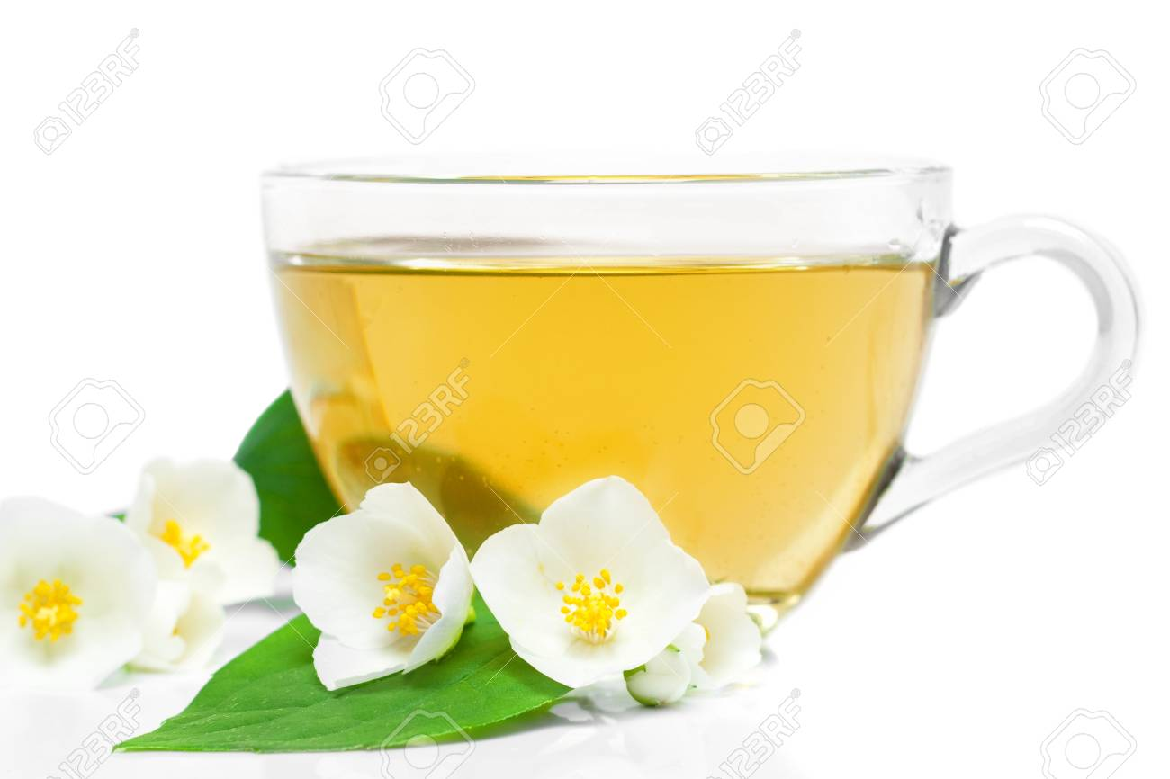 Jasmine Tea With Fresh Jasmine Leaves And Flowers Stock Photo