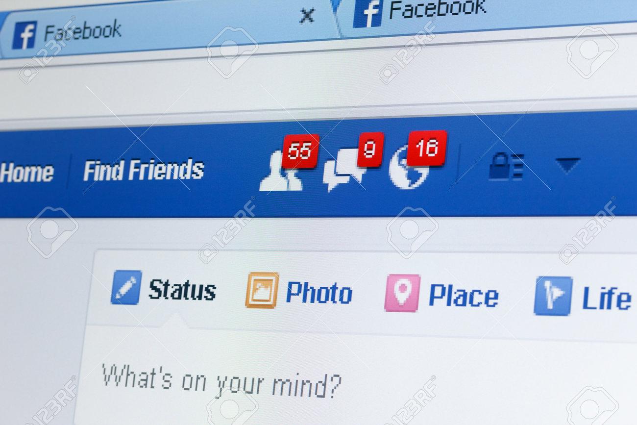 kiev ukraine june 8 facebook web page closeup with notifications