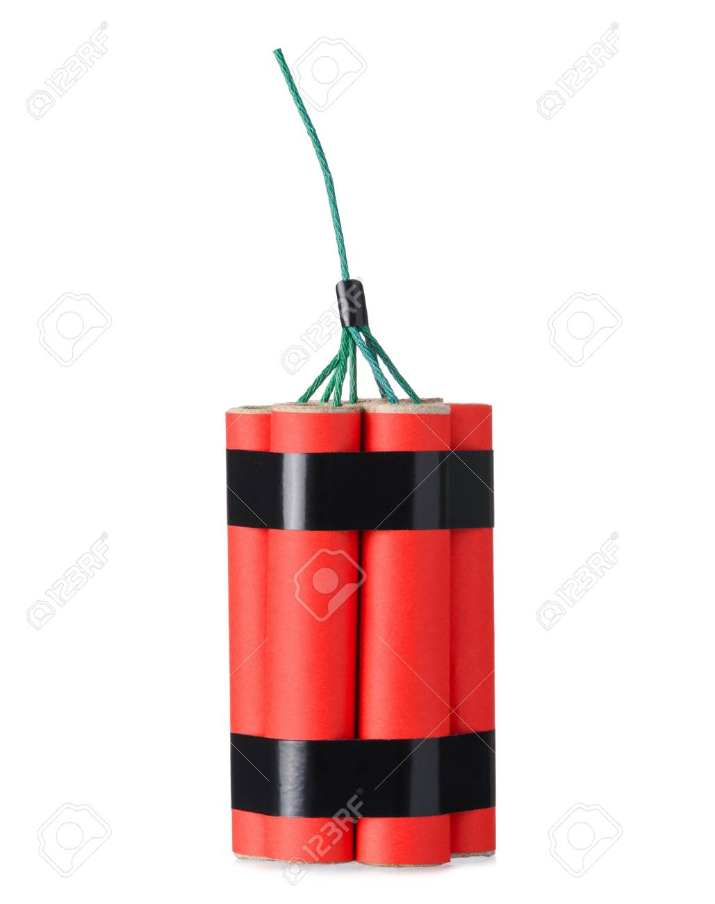 Red dynamite firecracker with fuse isolated on a white background - 119485724