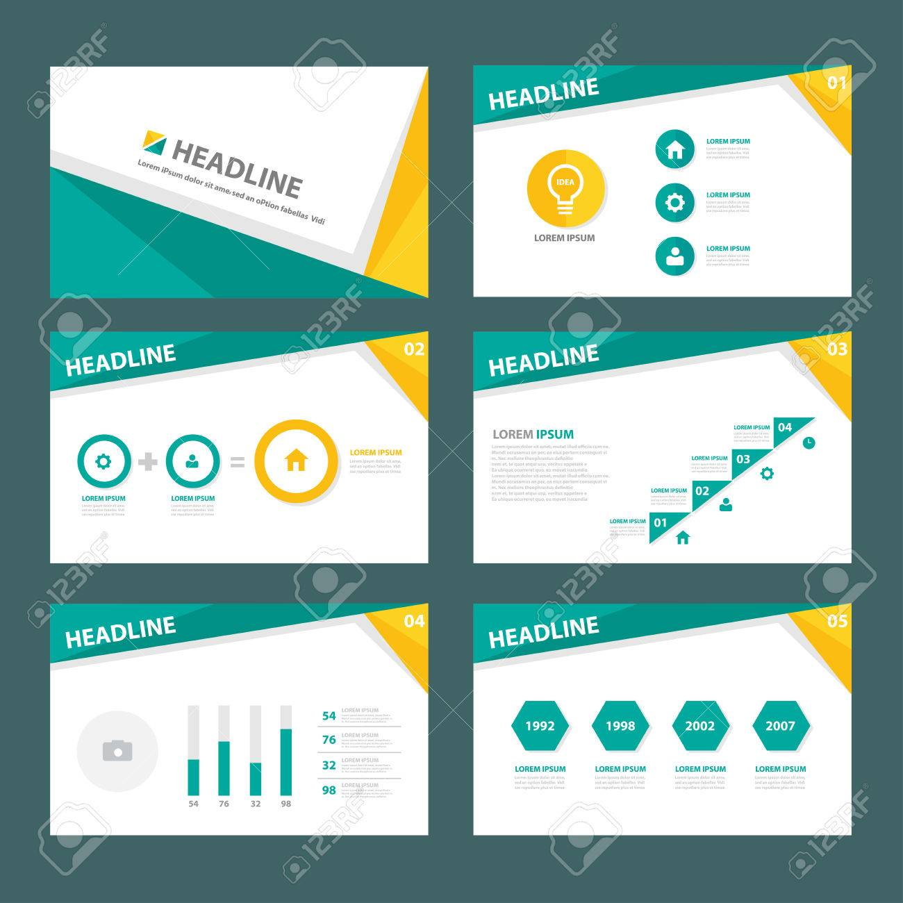 Green And Yellow Brochure Flyer Template For Advertising Marketing ...