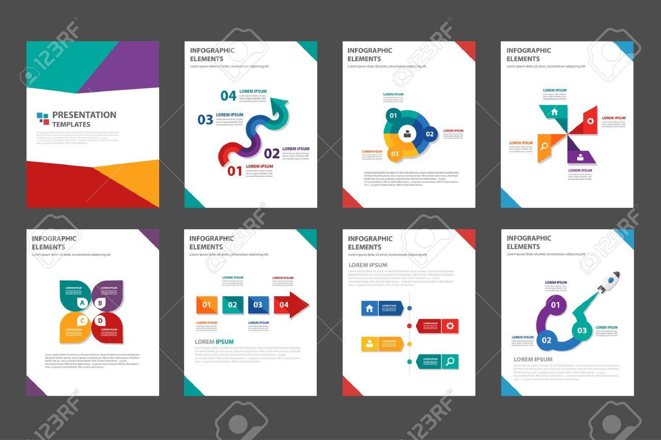 8 modern colorful multipurpose presentation template flat design