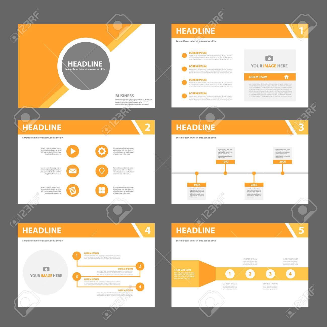 Orange Mehrzweckpräsentationsvorlage Flache Design-Set Für Broschüre ...