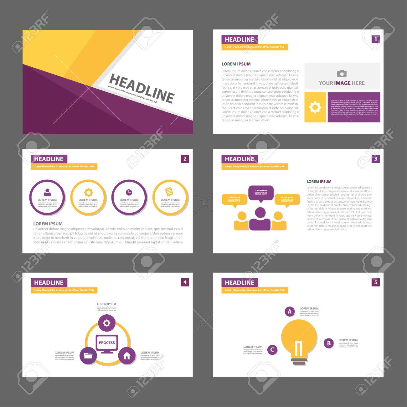 Purple And Yellow Infographic Element For Presentation Brochure ...