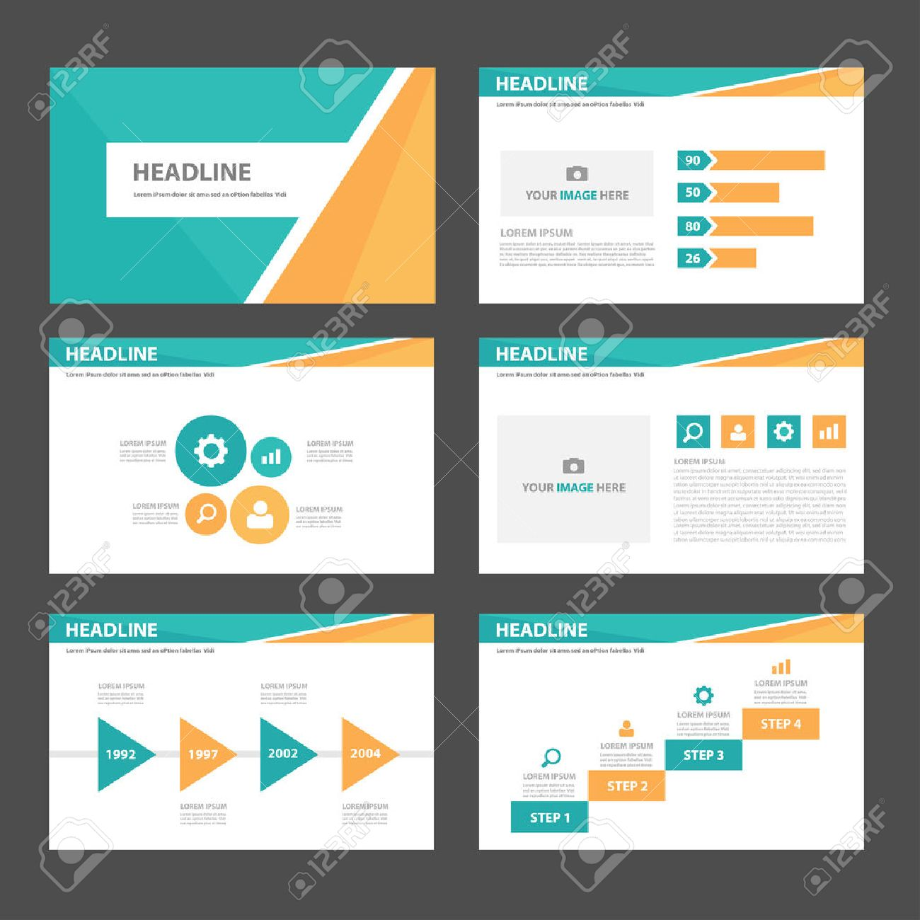 orange and green blue multipurpose infogaphic presentation, Templates