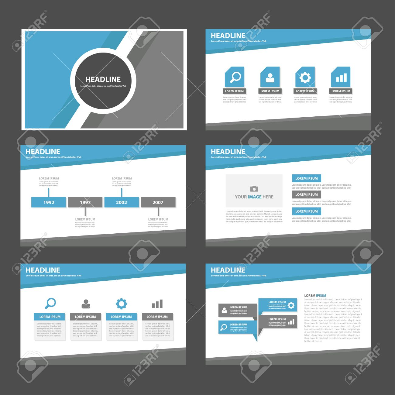 blue and grey multipurpose infographic presentation templates blue and grey multipurpose infographic presentation templates flat design set for brochure flyer marketing advertising stock