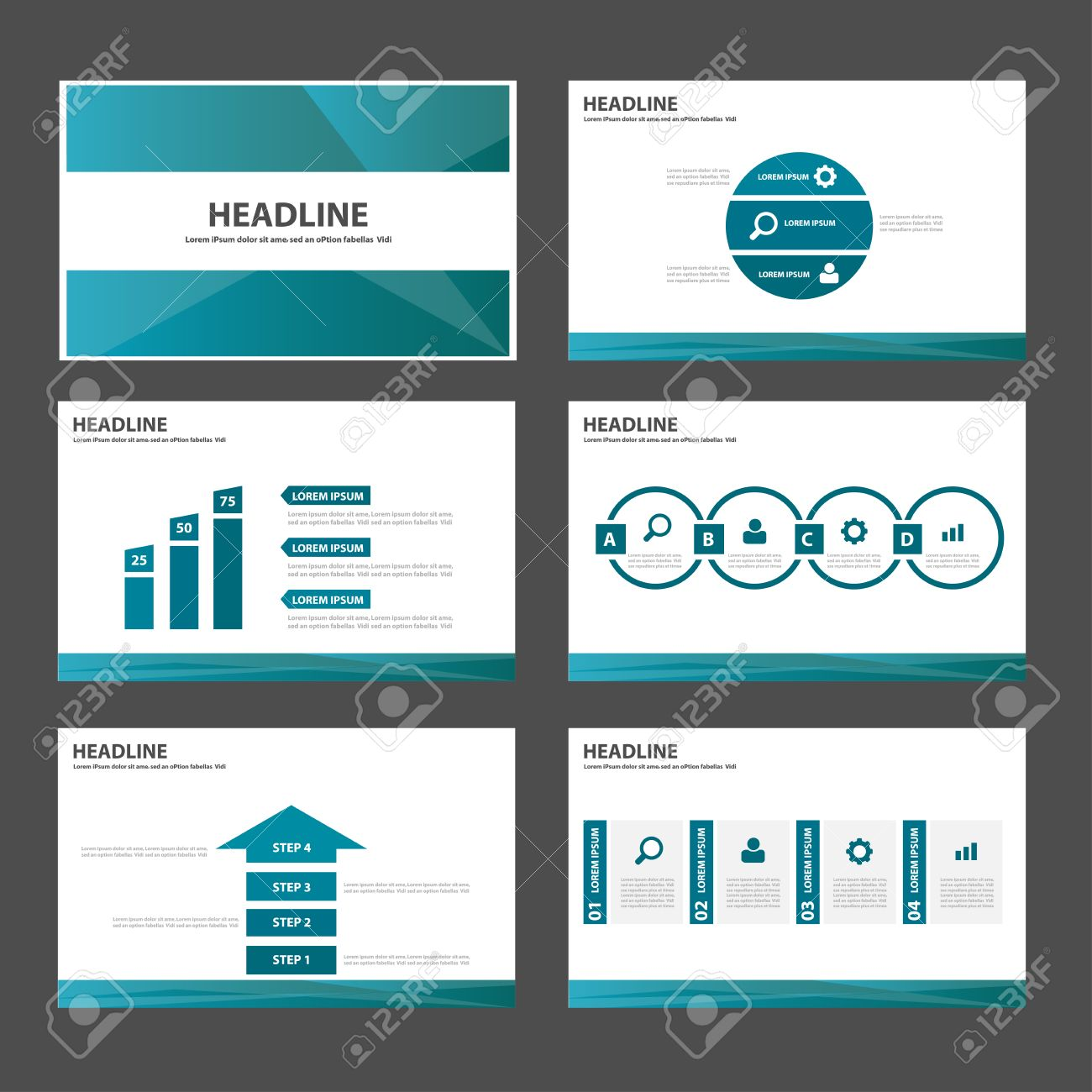 blue polygon multipurpose infographic presentation templates, Templates