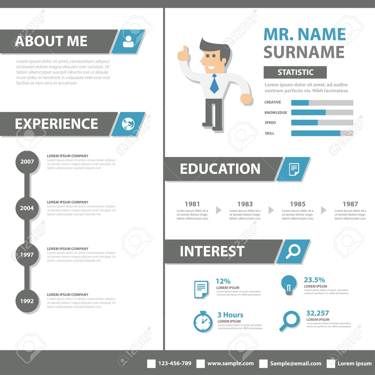 smart creative resume business profile cv vitae template layout flat design for job application advertising marketing