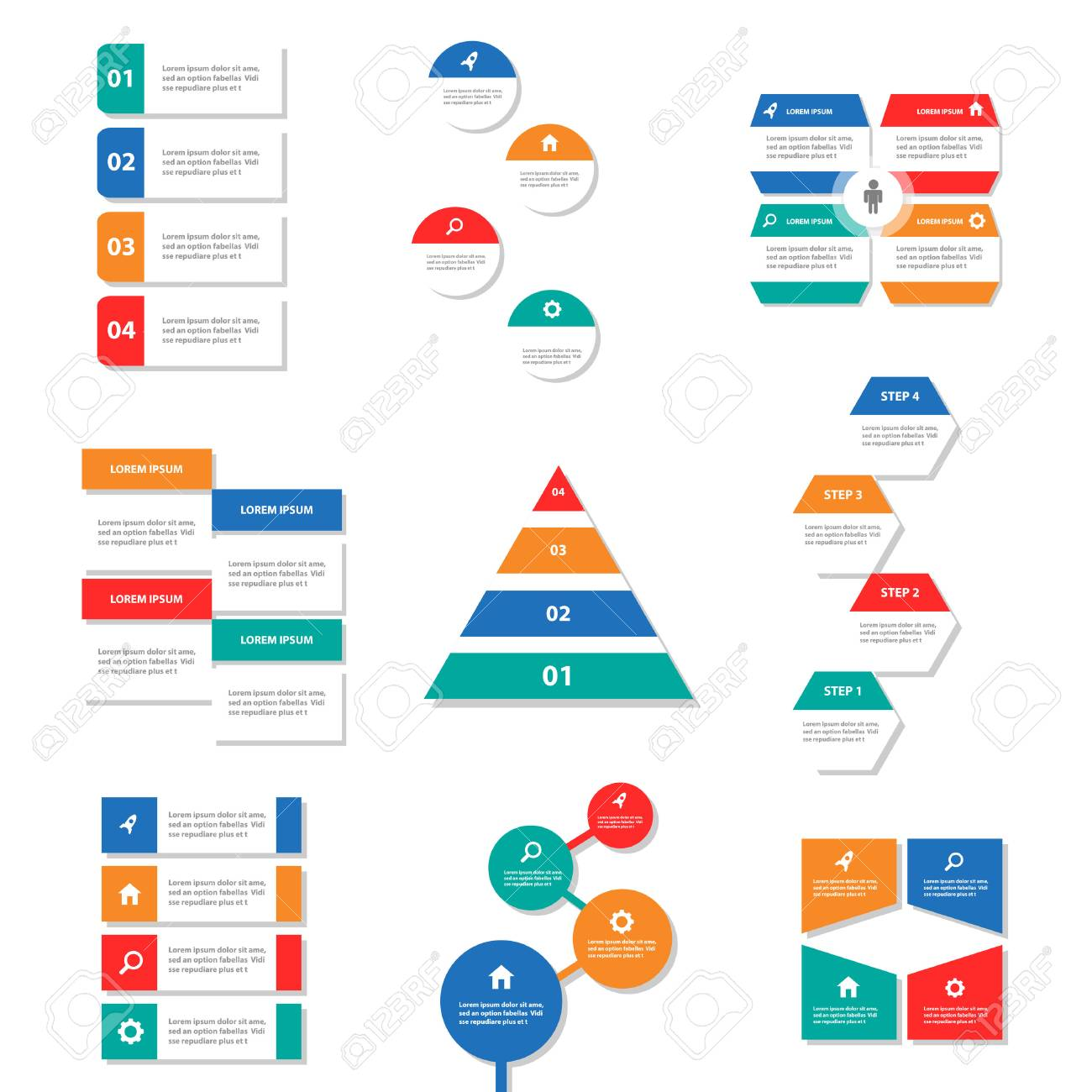9 colorful infographic elements presentation template business