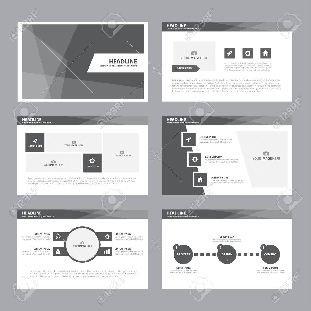 black white abstract presentation template infographic elements, Presentation templates