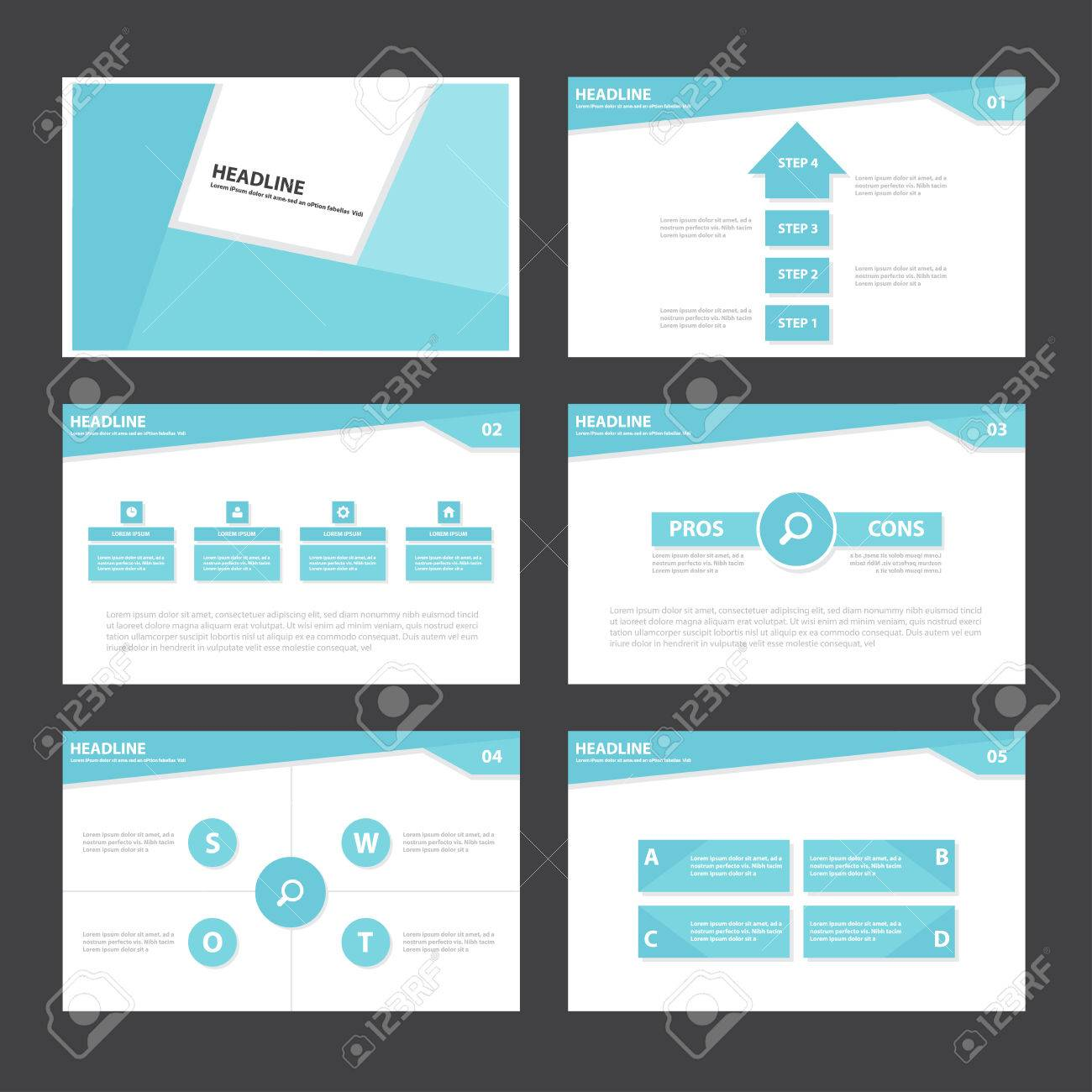 Blue Abstract Presentation Template Infographic Elements Flat