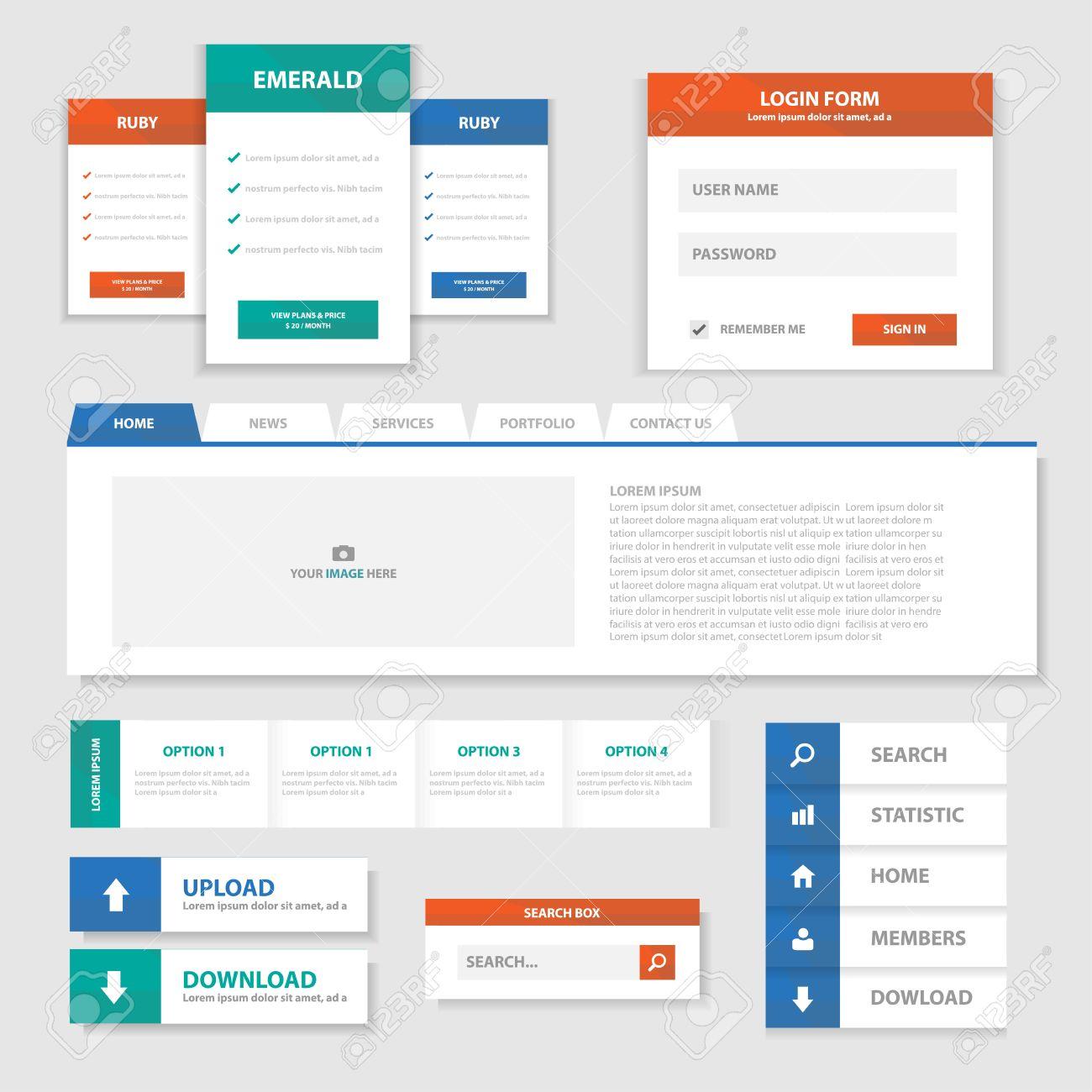 Grün, Rot, Blau Multipurpose-Website-Vorlagen Und Infografik ...