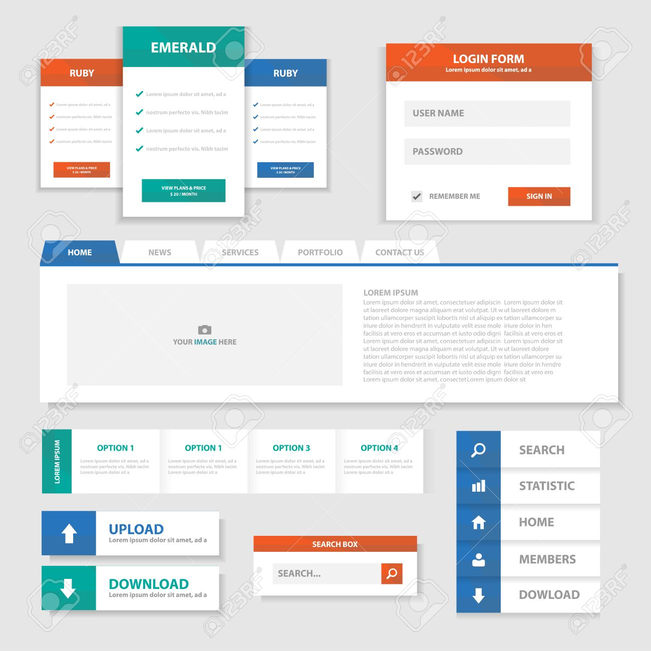 Green Red Blue Multipurpose Website Templates And Infographic ...