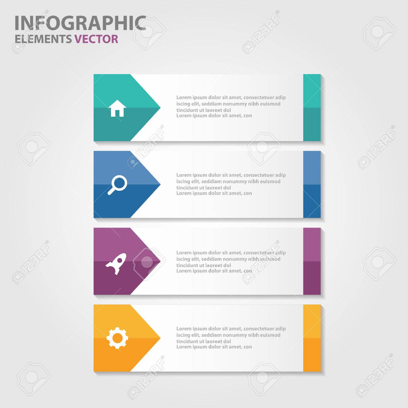 Colorful Label Presentation Templates Infographic Elements Flat ...