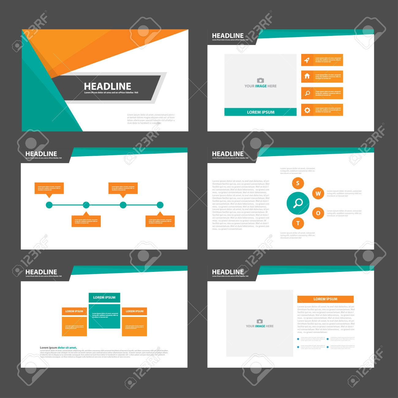 Grün, Orange, Präsentationsvorlagen Infografik-Elemente Flaches ...