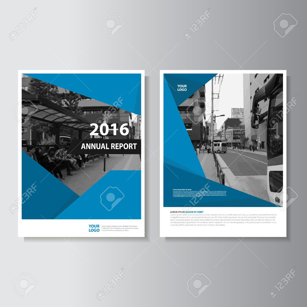 Vector Leaflet Brochure Flyer template A4 size design, annual report book cover layout design, Abstract blue presentation templates - 54348695
