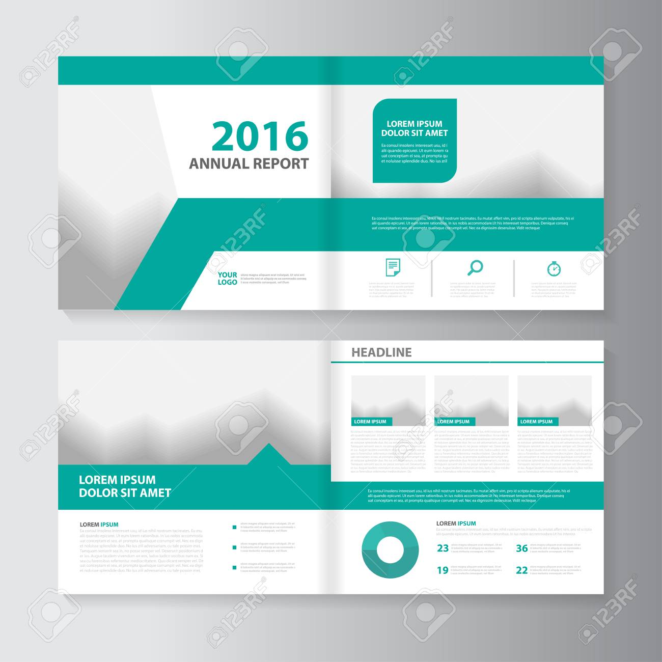 Vector Leaflet Brochure Flyer Template Design, Annual Report ...