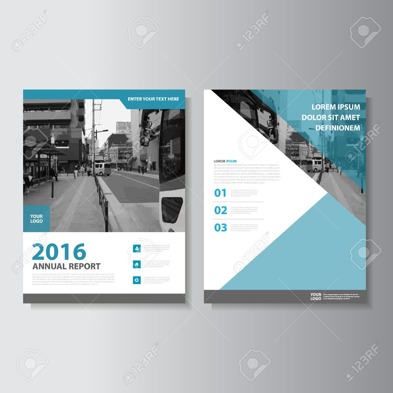 blue vector annual report leaflet brochure flyer template design