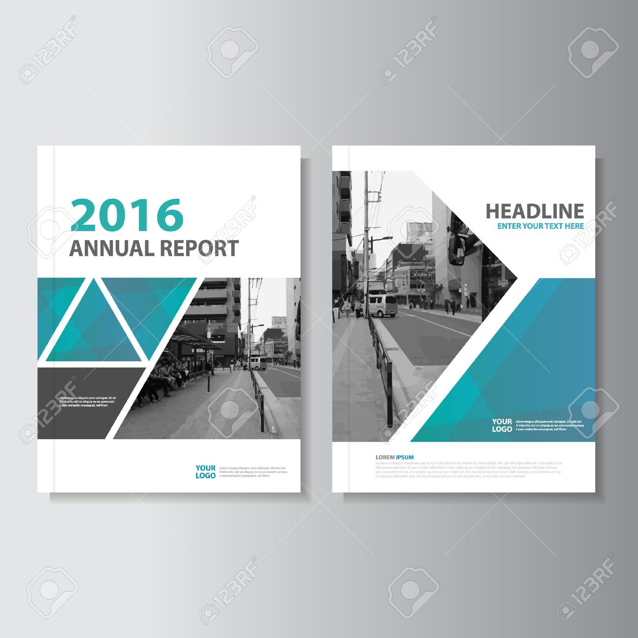 blue green vector annual report leaflet brochure flyer template