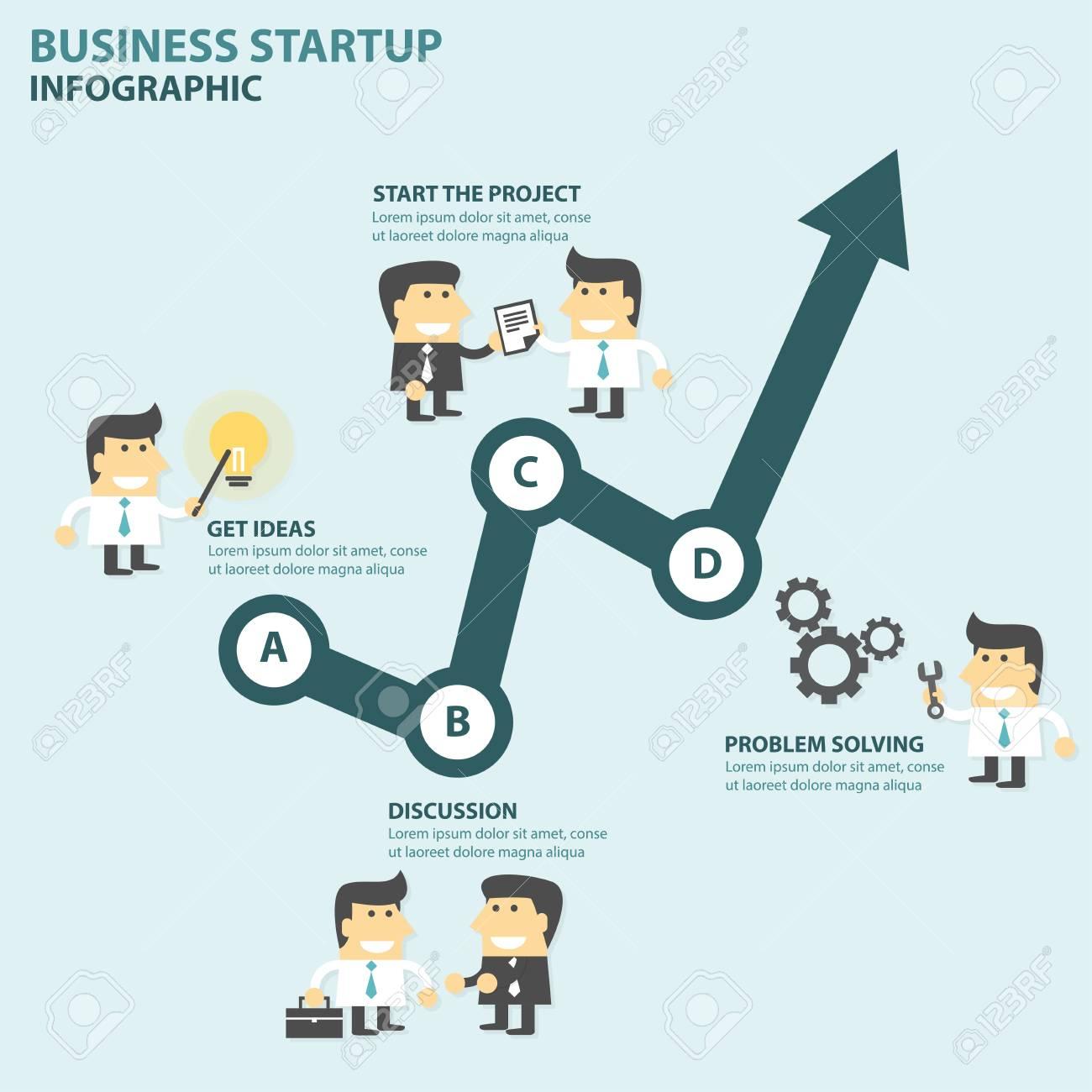 Business Startup Infographic Elements Flat Design Set Arrow