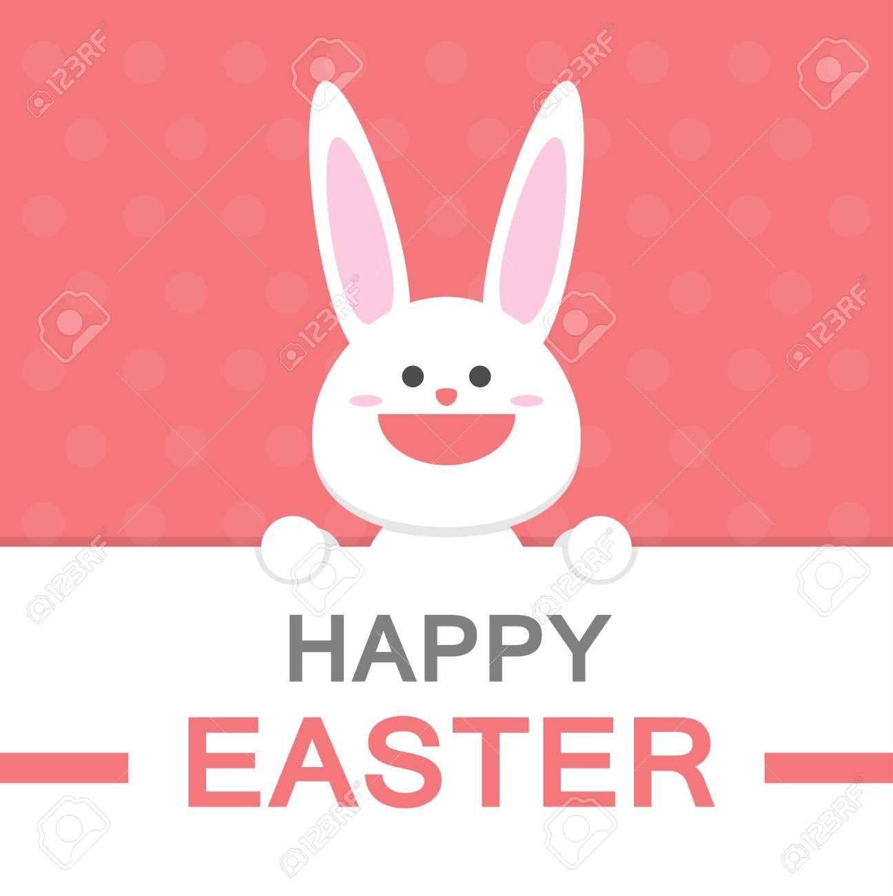 Frohe Ostern Tag Lächeln Hase Cartoon-Vektor-Grußkarte Vorlage Mit ...