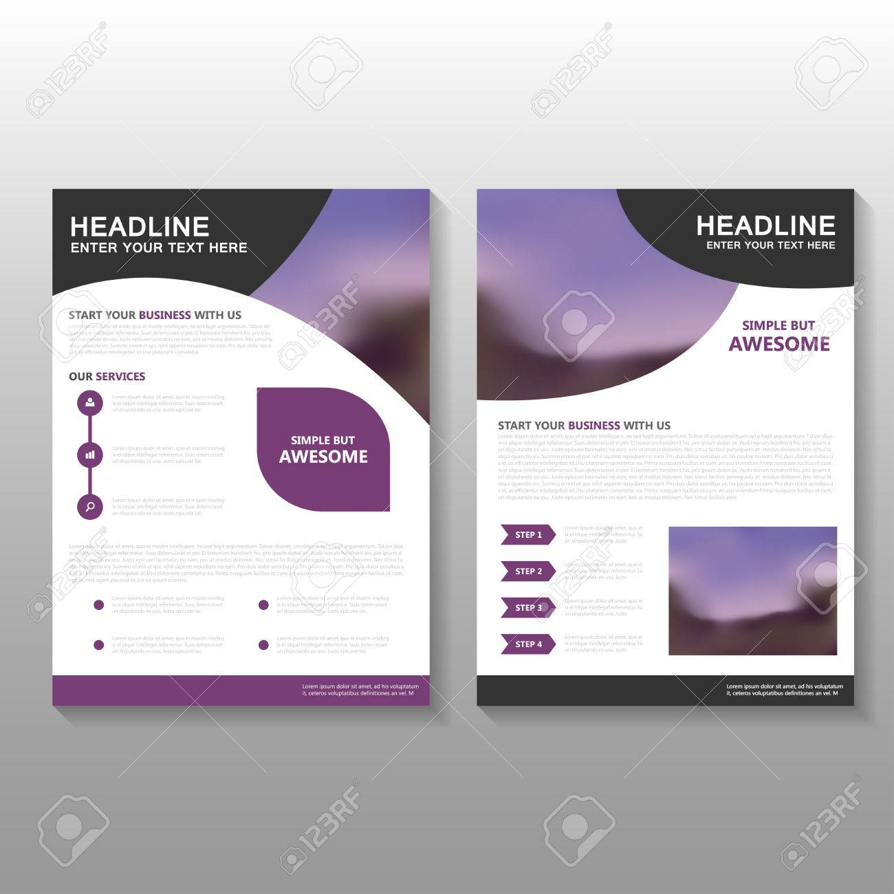 purple vector business proposal leaflet brochure flyer template