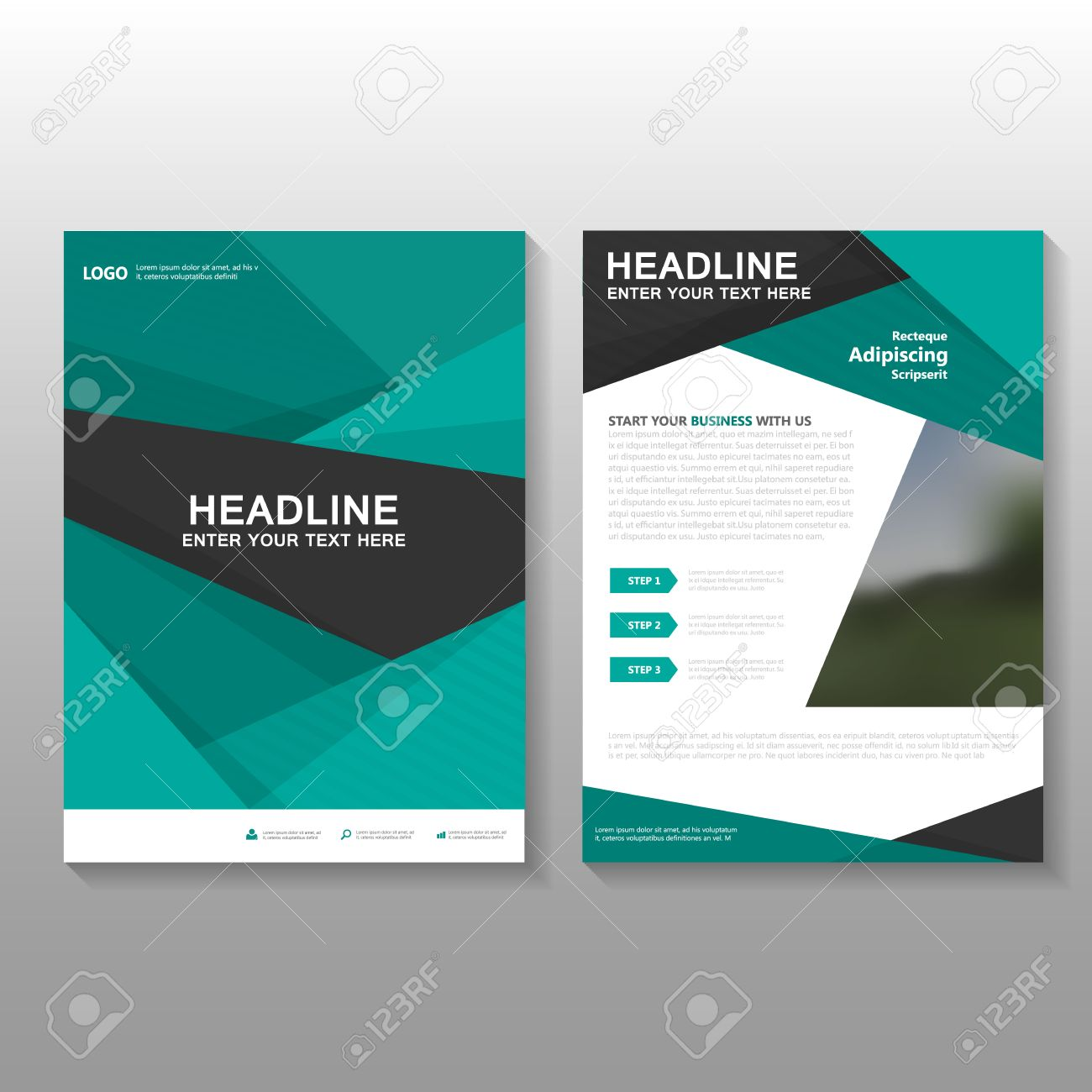 green business proposal leaflet brochure flyer template design