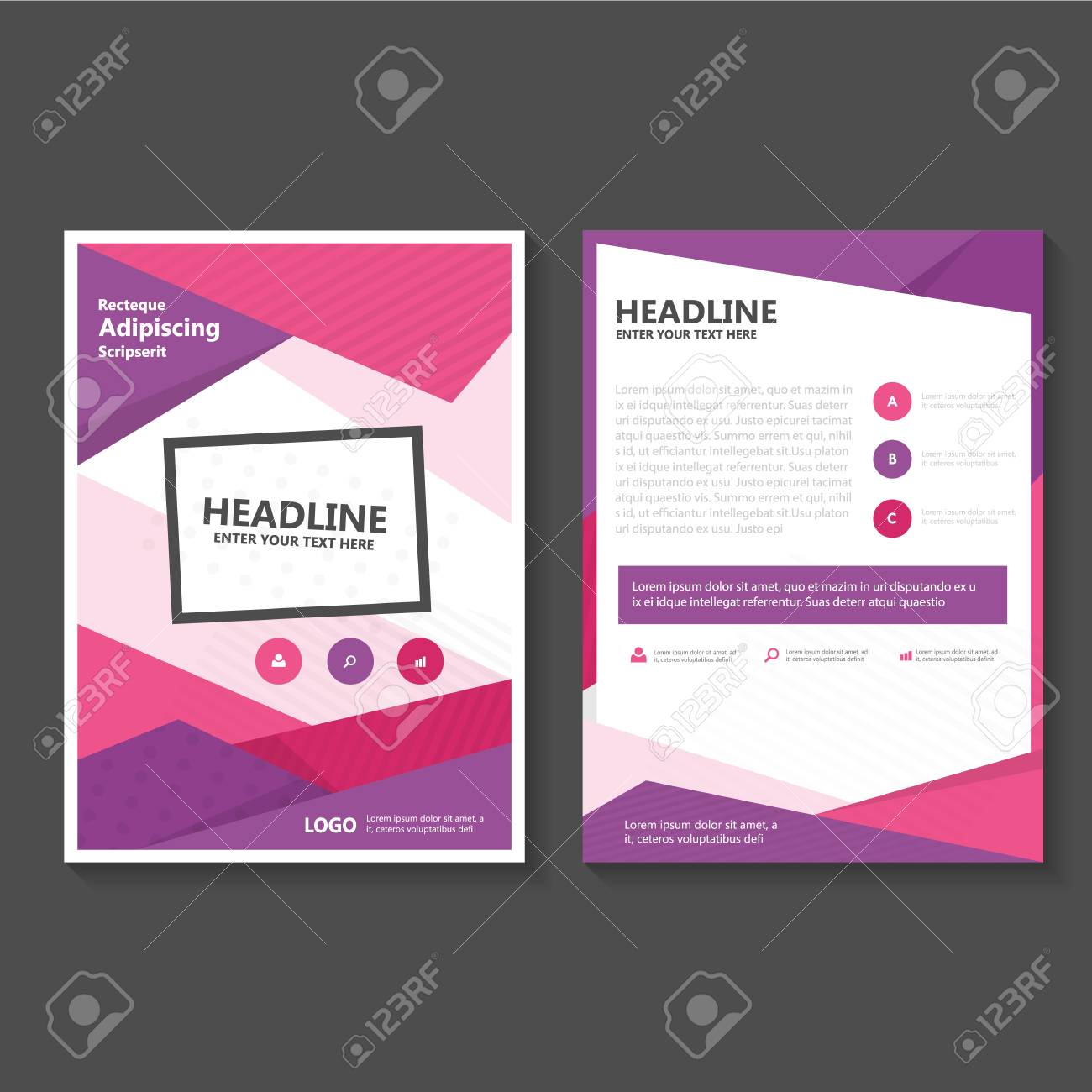 purple pink business brochure flyer template design book cover