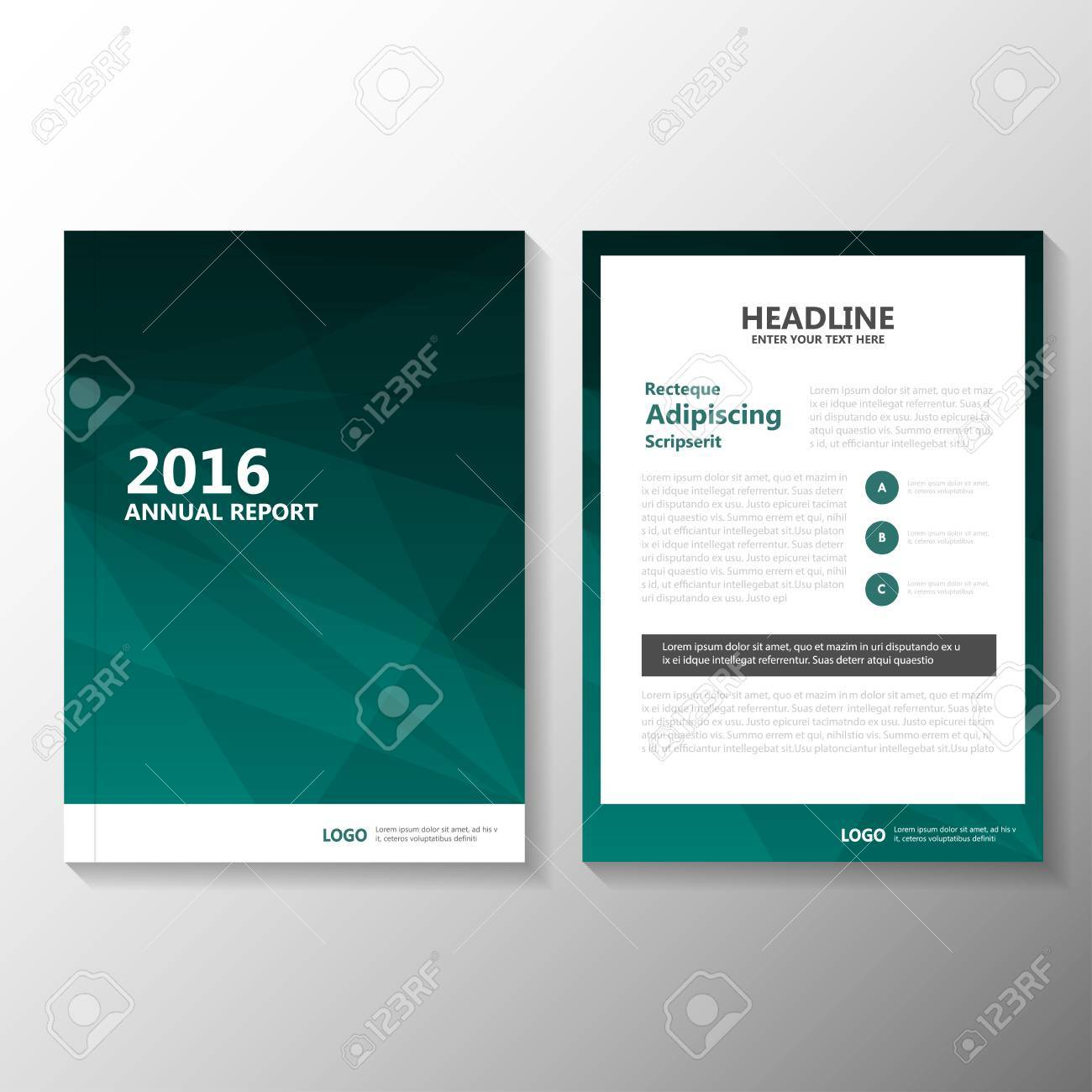 Green Vector Annual Report Leaflet Brochure Flyer Template Design ...