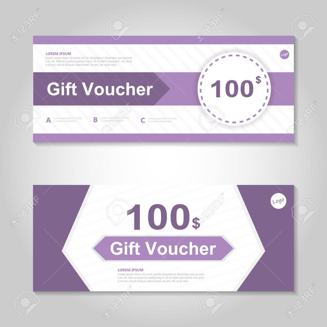 cute purple gift voucher template layout design set certificate
