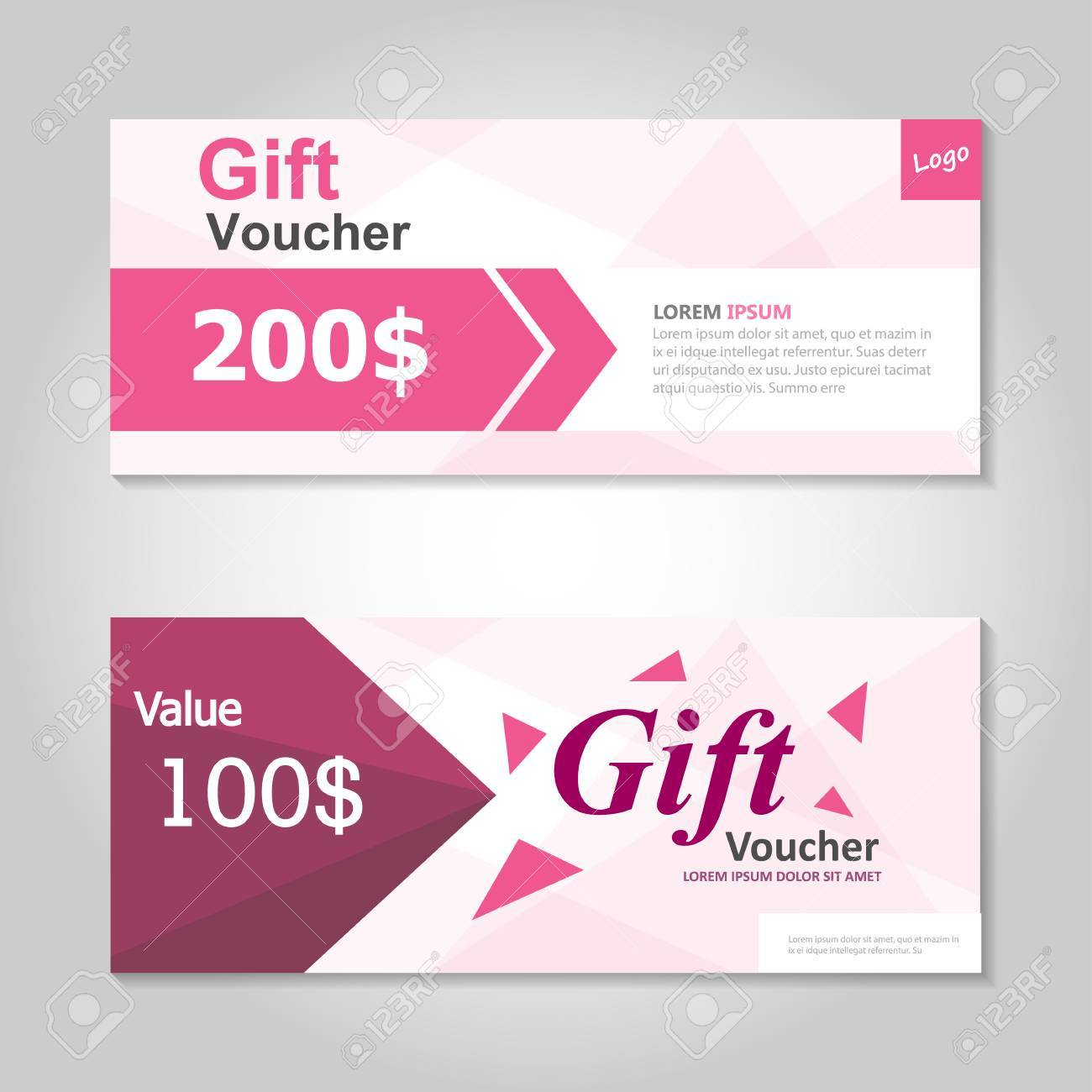 Premium-rosa Geschenk-Gutschein-Vorlage-Layout-Design-Set ...