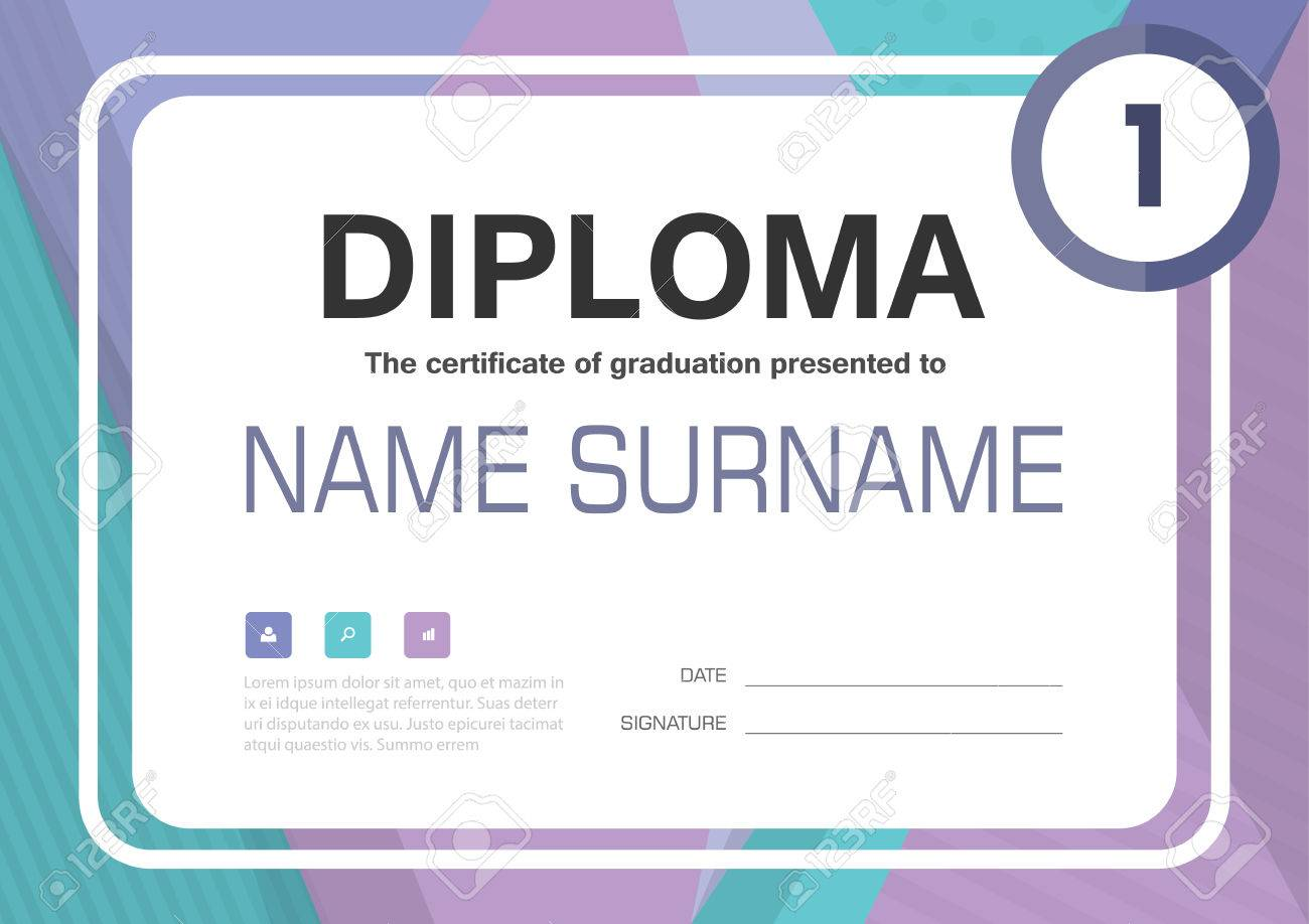 purple blue a4 diploma certificate background template layout design stock vector 54786012
