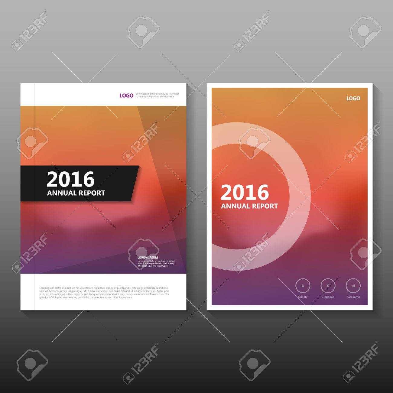 Orange Purple Vector Annual Report Leaflet Brochure Flyer Template ...