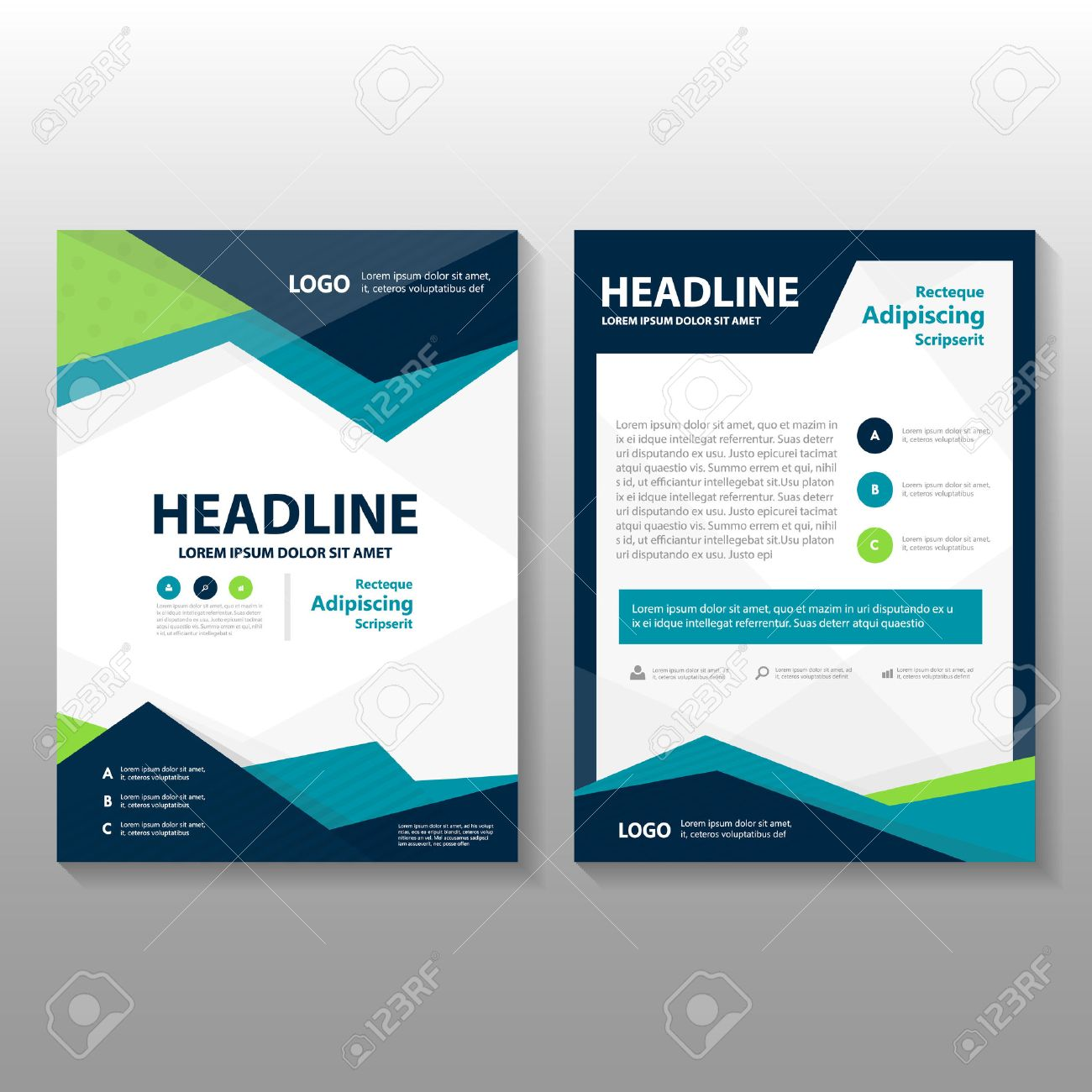 Triangle Blue Green Purple Vector Annual Report Leaflet Brochure - Brochure flyer templates