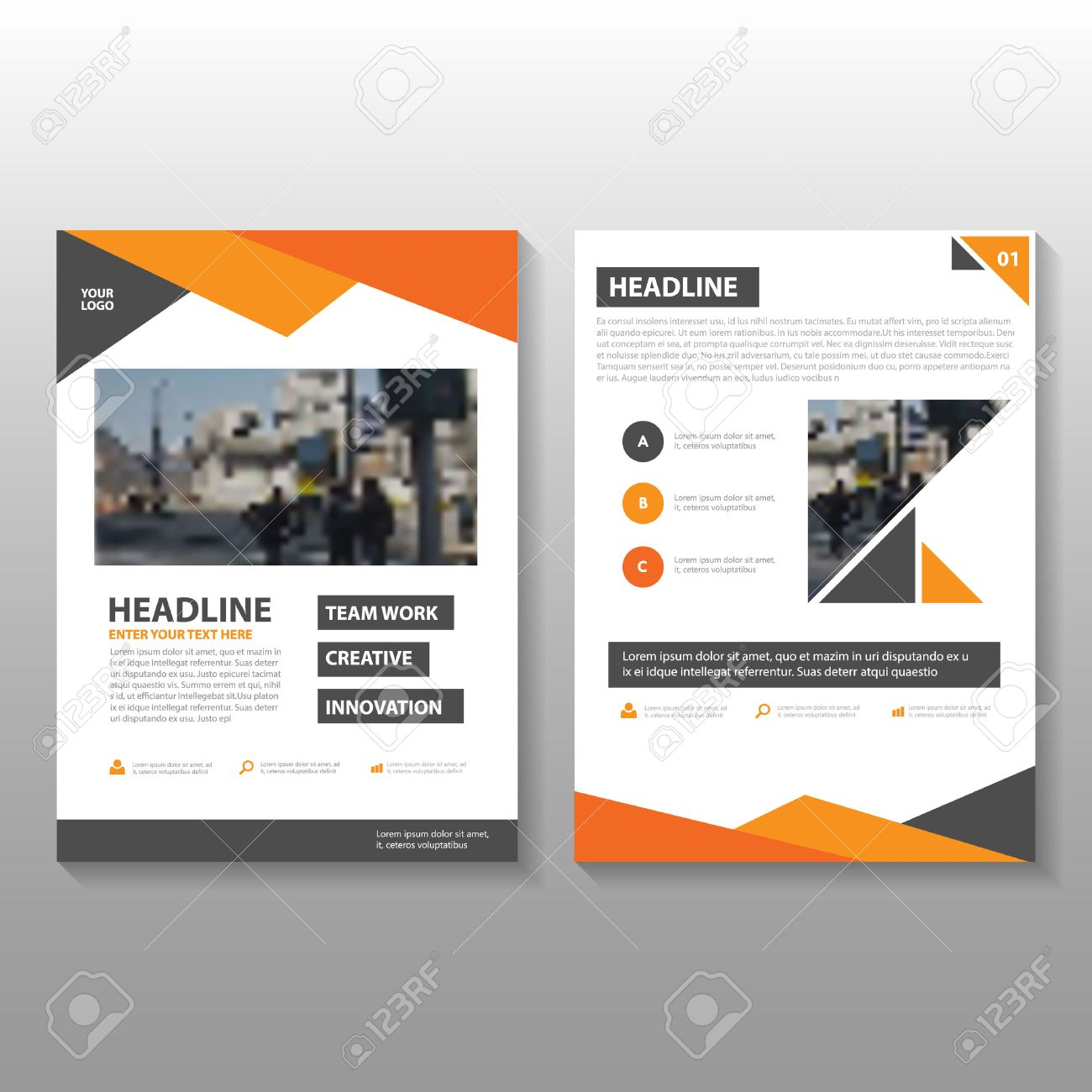 Orange Vector Annual Report Leaflet Brochure Flyer Template Design - Brochure flyer templates