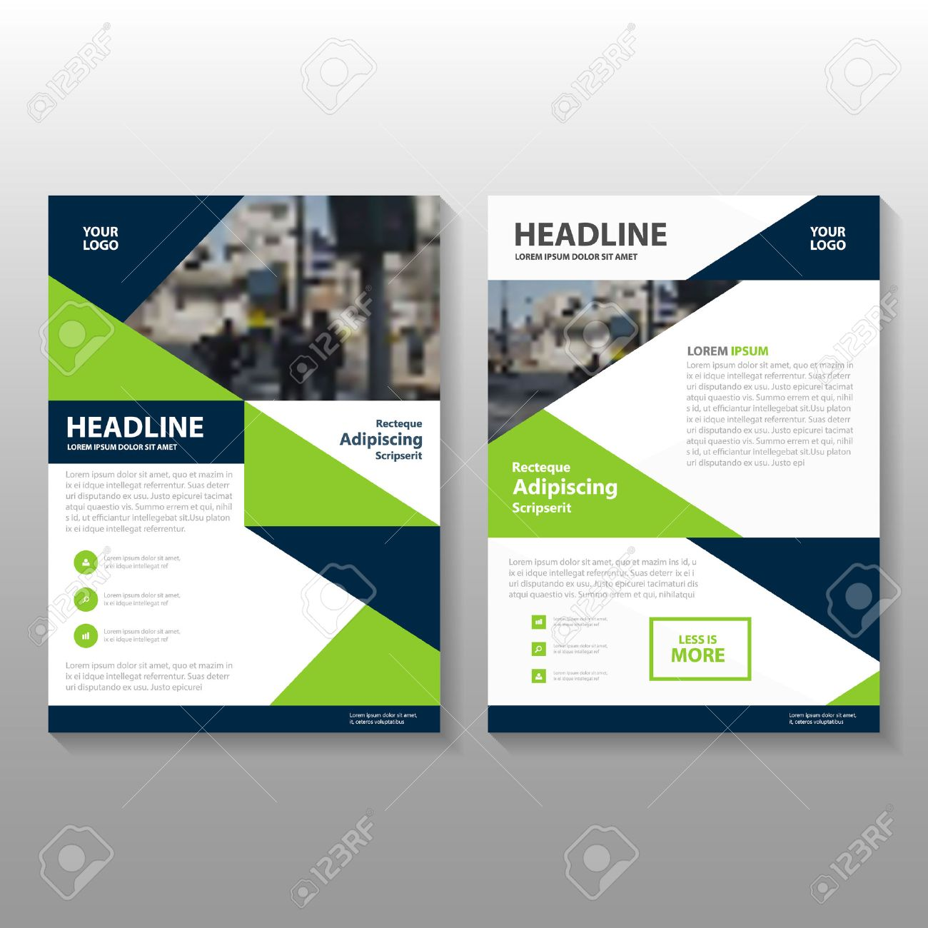 Gren Blue Vector Annual Report Leaflet Brochure Flyer Template – Blue Flyer Template